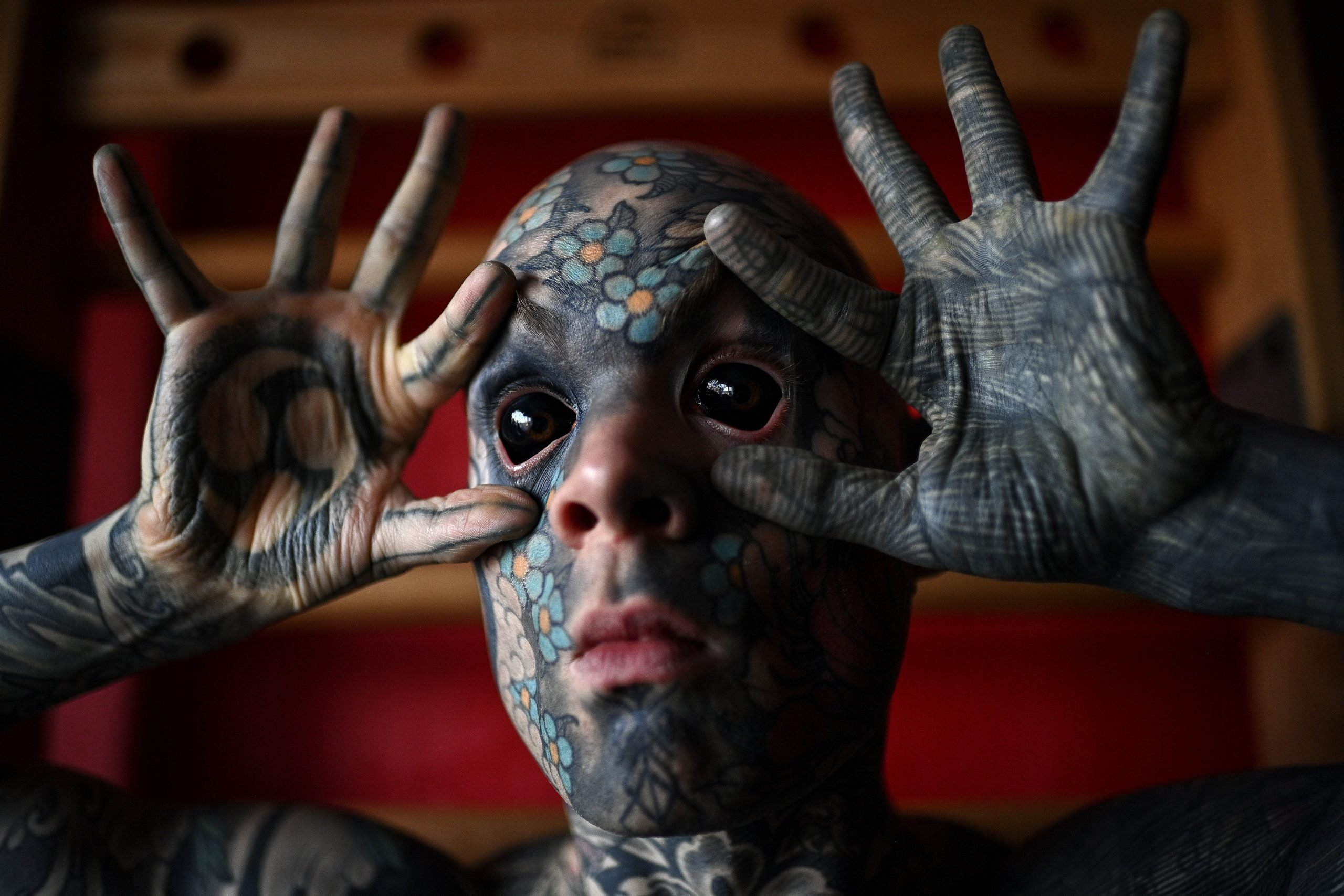 TOPSHOT - French primary school teacher and tattoo enthusiast Sylvain Helaine, known as Freaky Hoody, poses during a photo session in Palaiseau, a south of Paris suburb, on September 22, 2020. (Photo by Christophe ARCHAMBAULT / AFP) (Photo by CHRISTOPHE ARCHAMBAULT/AFP via Getty Images)