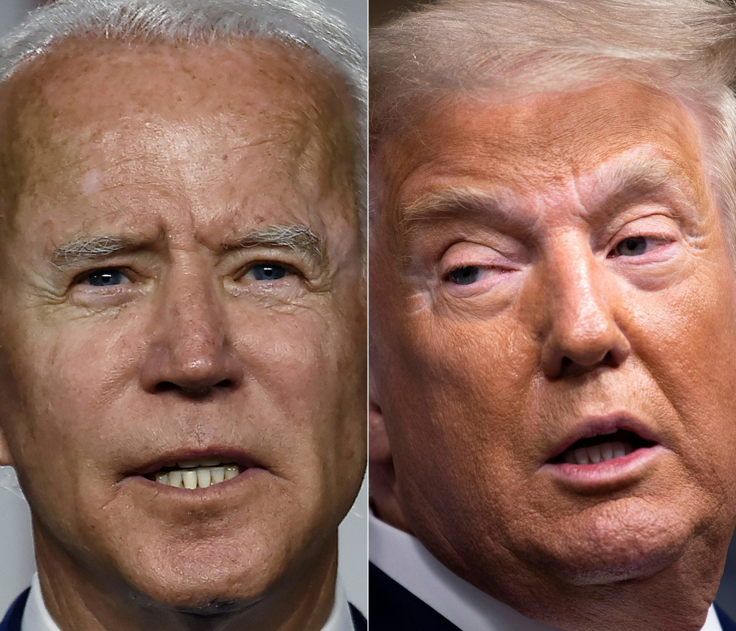 """This combination of pictures created on September 28, 2020 shows Democratic presidential candidate and former Vice President Joe Biden(L) speaking at a """"Build Back Better"""" Clean Energy event on July 14, 2020 at the Chase Center in Wilmington, Delaware, and US President Donald Trump speaking during a briefing at the White House September 27, 2020, in Washington, DC. - At the September 29, 2020 election debate, millions of Americans will watch as the two antagonists -- who depict each other as existential threats to the country -- step into the ring live on television after months of shadow-boxing. (Photo by OLIVIER DOULIERY,BRENDAN SMIALOWSKI/AFP via Getty Images)"""