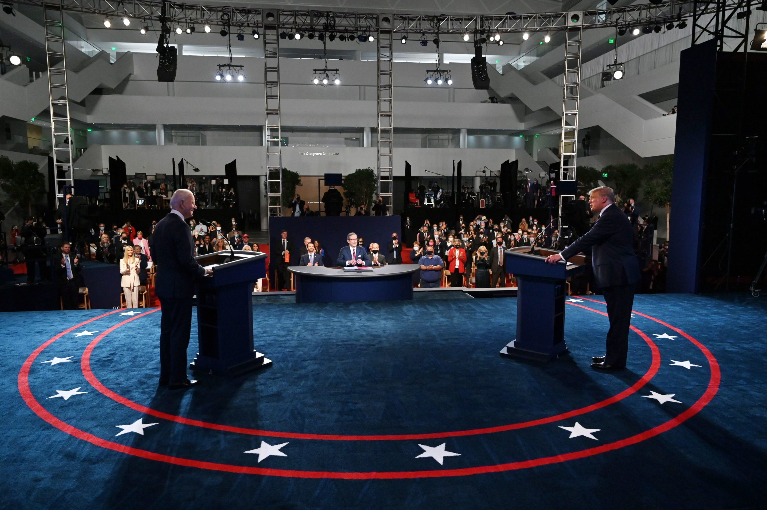 President Donald Trump and Democratic presidential candidate Joe Biden arrive for the first presidential debate at Case Western Reserve University and Cleveland Clinic in Cleveland, Ohio, on September 29, 2020. (Olivier Douliery/Pool/AFP via Getty Images)