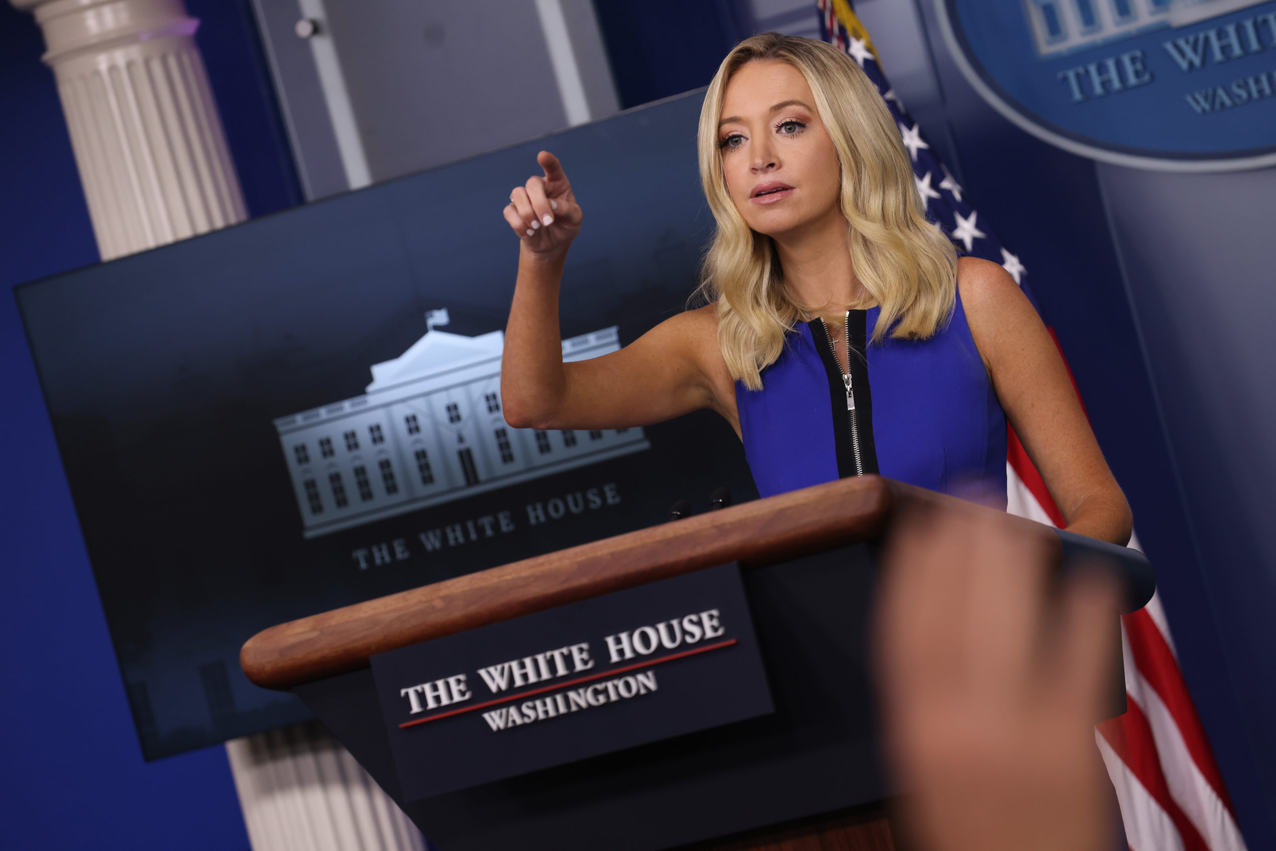 WASHINGTON, DC - SEPTEMBER 03: White House press secretary Kayleigh McEnany holds a briefing at the White House September 3, 2020 in Washington, DC. McEnany answered a range of questions relating primarily comments made by President Donald Trump yesterday in North Carolina encouraging people to vote twice in the upcoming U.S. presidential election. (Photo by Win McNamee/Getty Images)