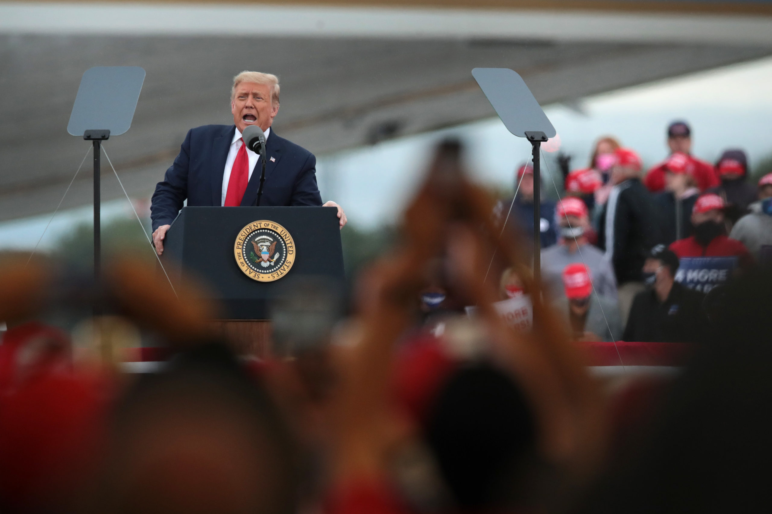 FREELAND, MICHIGAN - SEPTEMBER 10: President Donald Trump speaks to supporters at a rally on September 10, 2020 in Freeland, Michigan. Recent polls have former Vice President Joe Biden, who visited the battleground state yesterday, with a slight lead in the state. (Photo by Scott Olson/Getty Images)