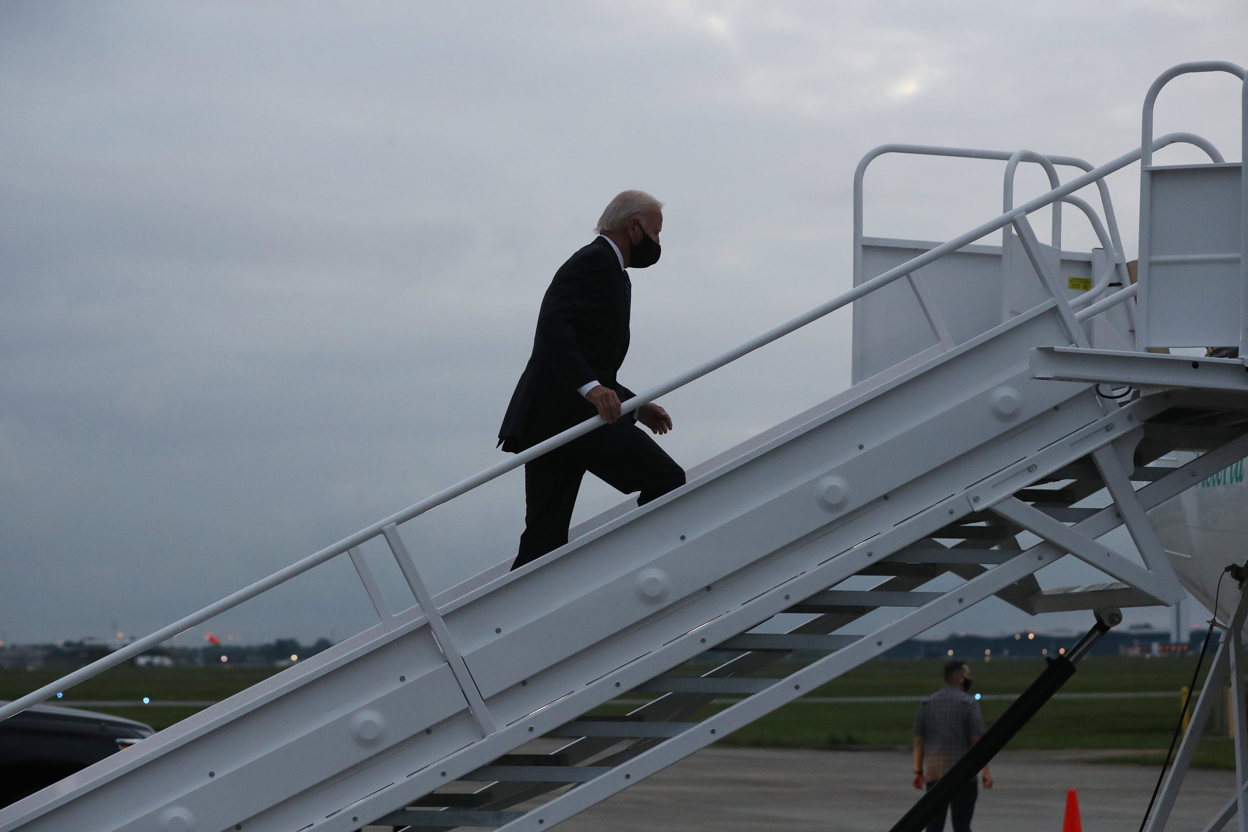 Democratic presidential nominee and former Vice President Joe Biden boards an airplane at New Castle County Airport September 11, 2020 in New Castle, Delaware. (Chip Somodevilla/Getty Images)
