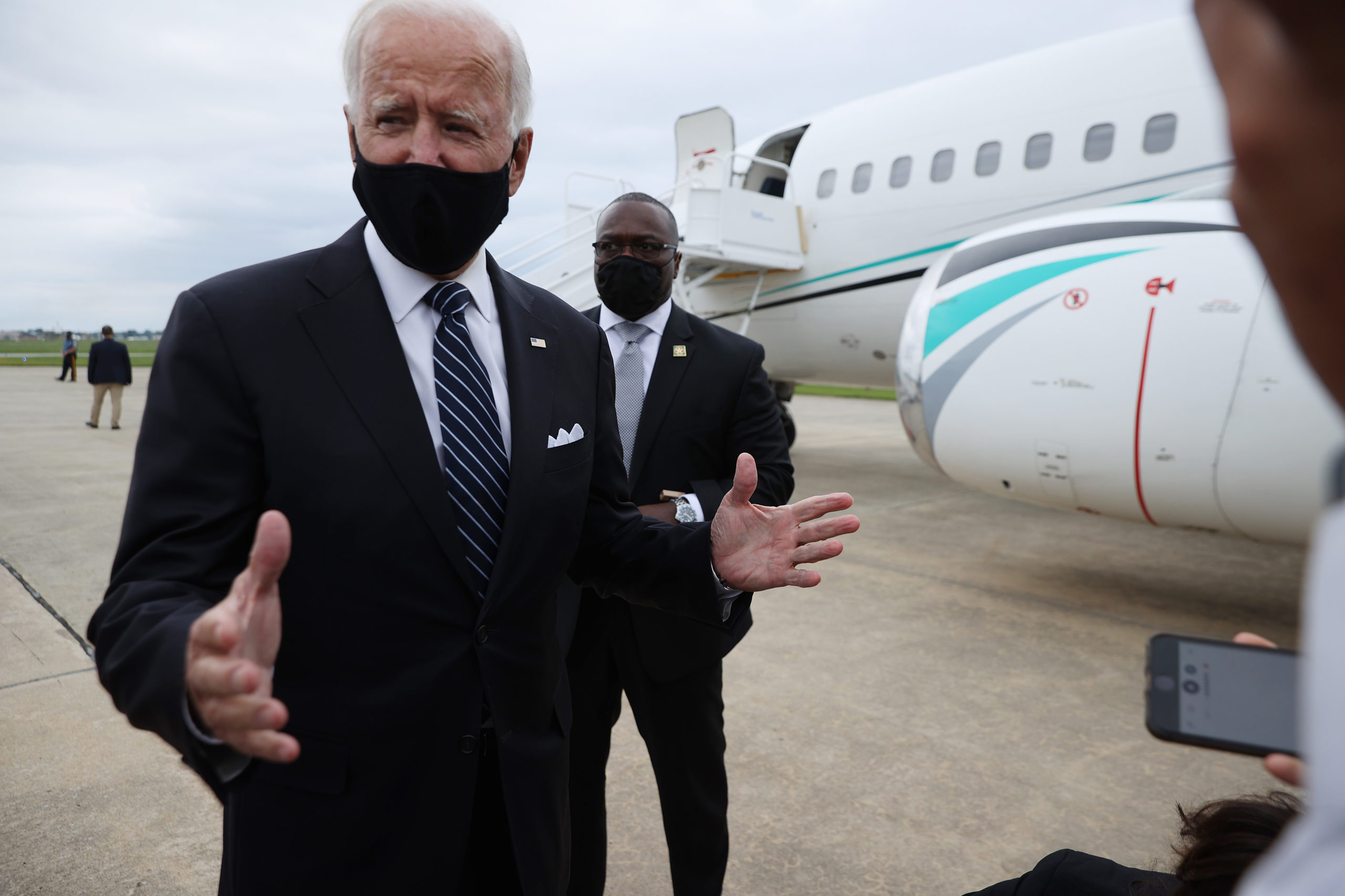 Democratic presidential nominee and former Vice President Joe Biden speaks briefly with journalists after returning to his home state at New Castle County Airport September 11, 2020 in New Castle, Delaware. (Chip Somodevilla/Getty Images)