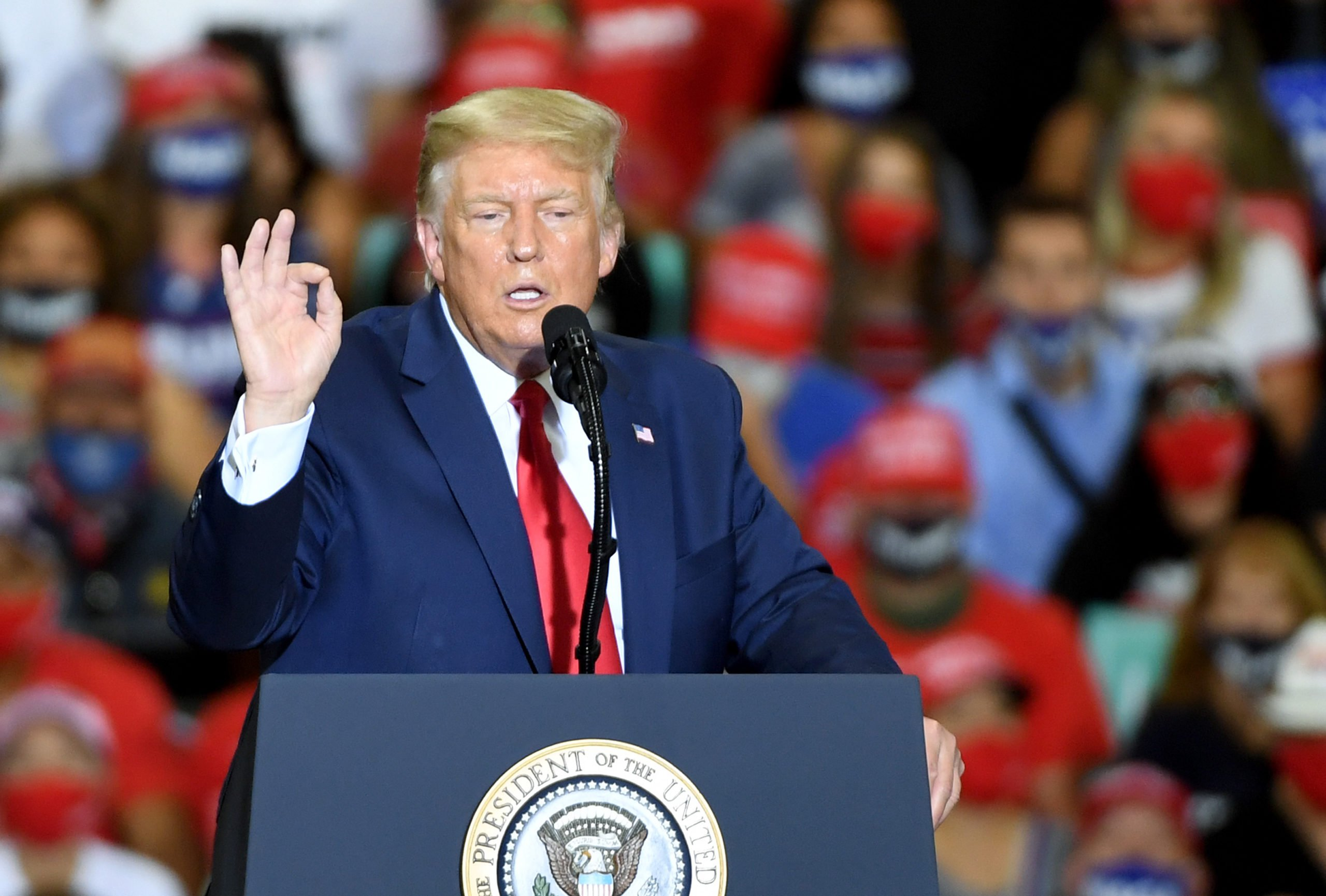 HENDERSON, NEVADA - SEPTEMBER 13: U.S. President Donald Trump speaks during a campaign event at Xtreme Manufacturing on September 13, 2020 (Photo by Ethan Miller/Getty Images)