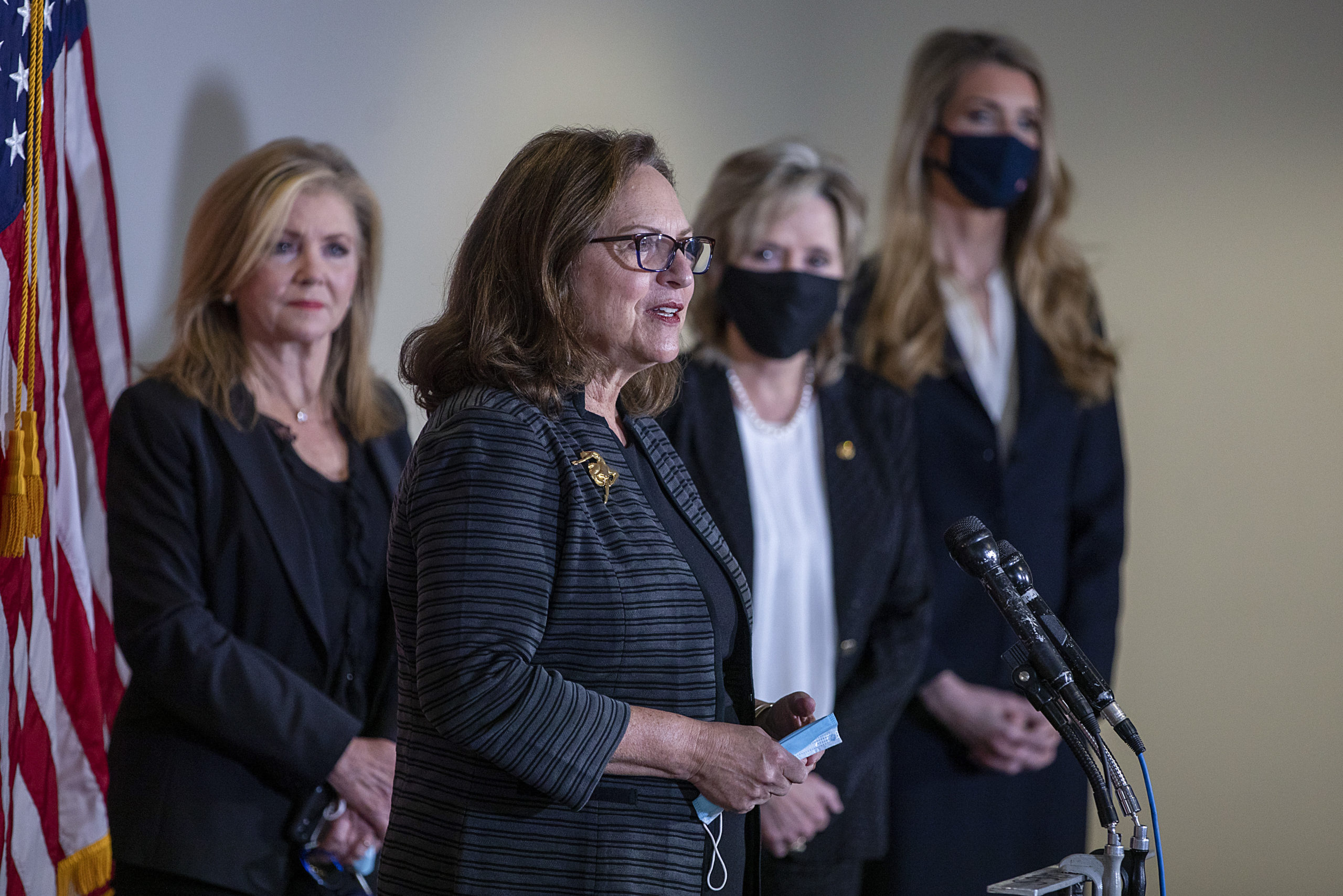 Sen. Deb Fischer (R-NE) speaks at a news conference to discuss Supreme Court nominee Judge Amy Coney Barrett on September 30, 2020 in Washington, DC. (Tasos Katopodis/Getty Images)