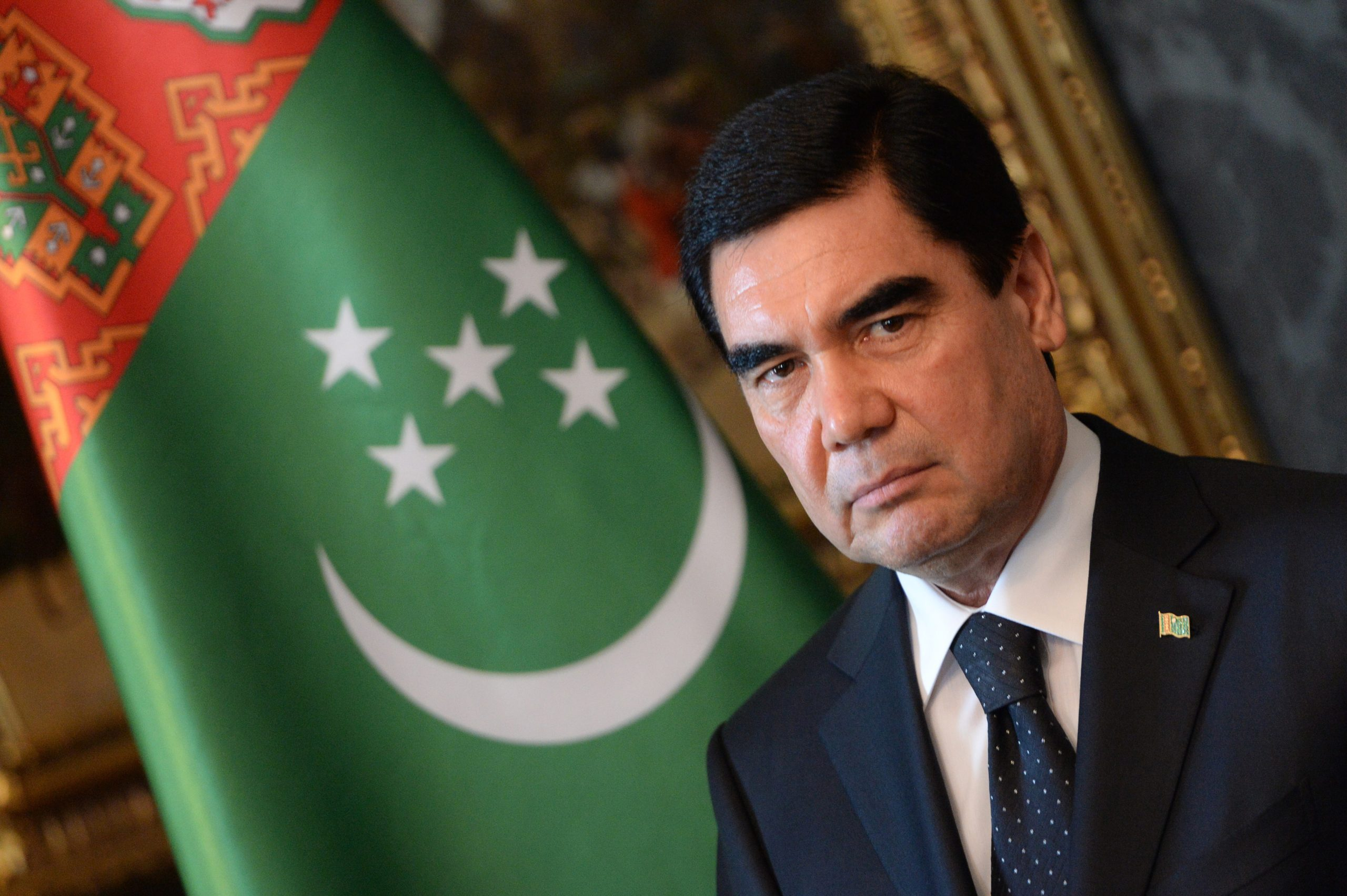 Turkmenistan's President Gurbanguly Berdimuhamedov is pictured during a signing ceremony in the Blue Hall at the presidential palace in Budapest on June 18, 2014. Berdimuhamedov is on a two-day visit to Hungary. AFP PHOTO / ATTILA KISBENEDEK (Photo credit should read ATTILA KISBENEDEK/AFP via Getty Images)