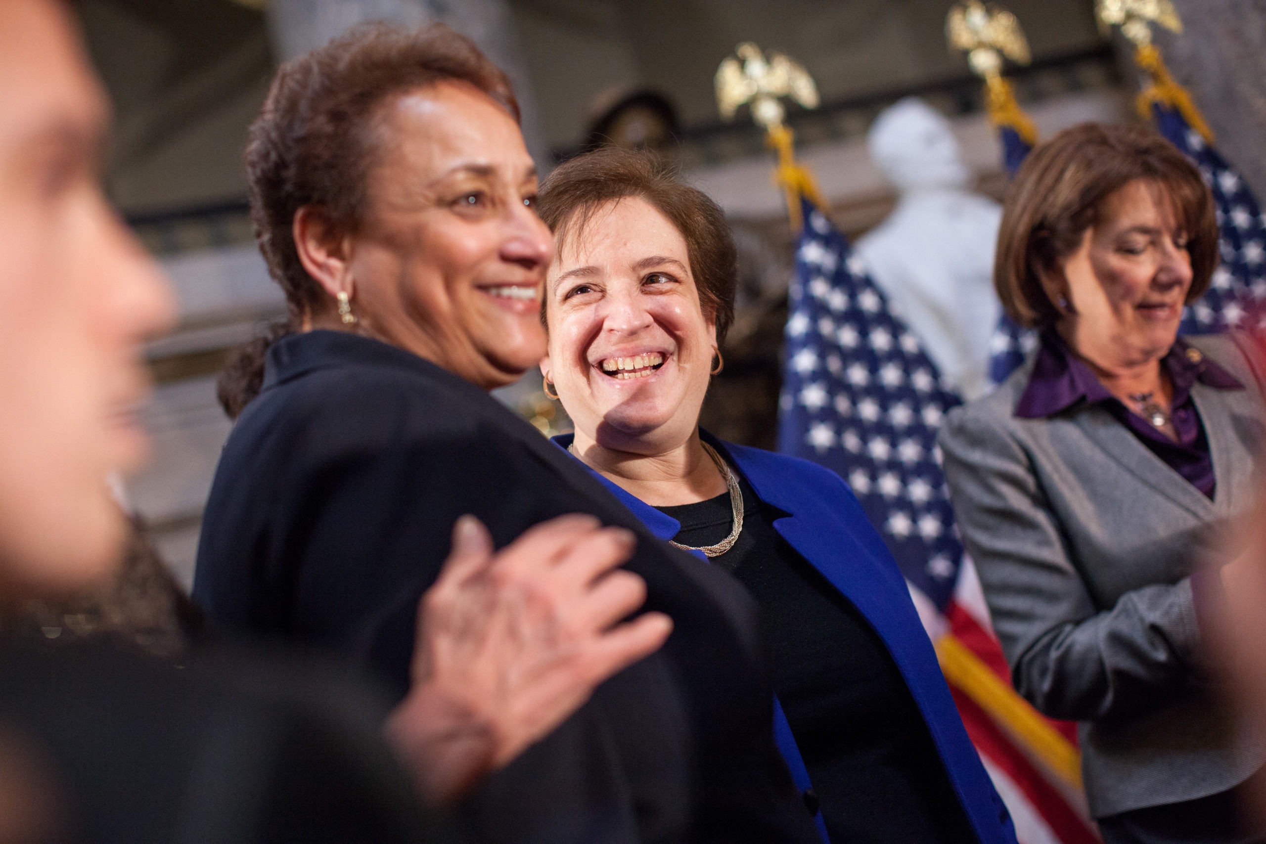 U.S. Supreme Court Justice Elena Kagan speaks with AARP CEO Jo Ann Jenkins at an annual Women's History Month reception hosted by Democratic House Leader Nancy Pelosi in the U.S. capitol building on Capitol Hill in Washington, D.C. (Allison Shelley/Getty Images)