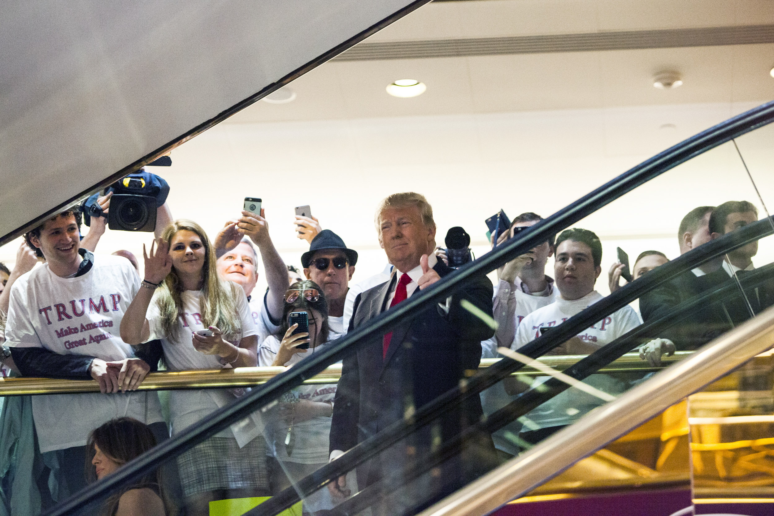 Business mogul Donald Trump rides an escalator to a press event to announce his candidacy for the U.S. presidency at Trump Tower on June 16, 2015 in New York City. (Christopher Gregory/Getty Images)