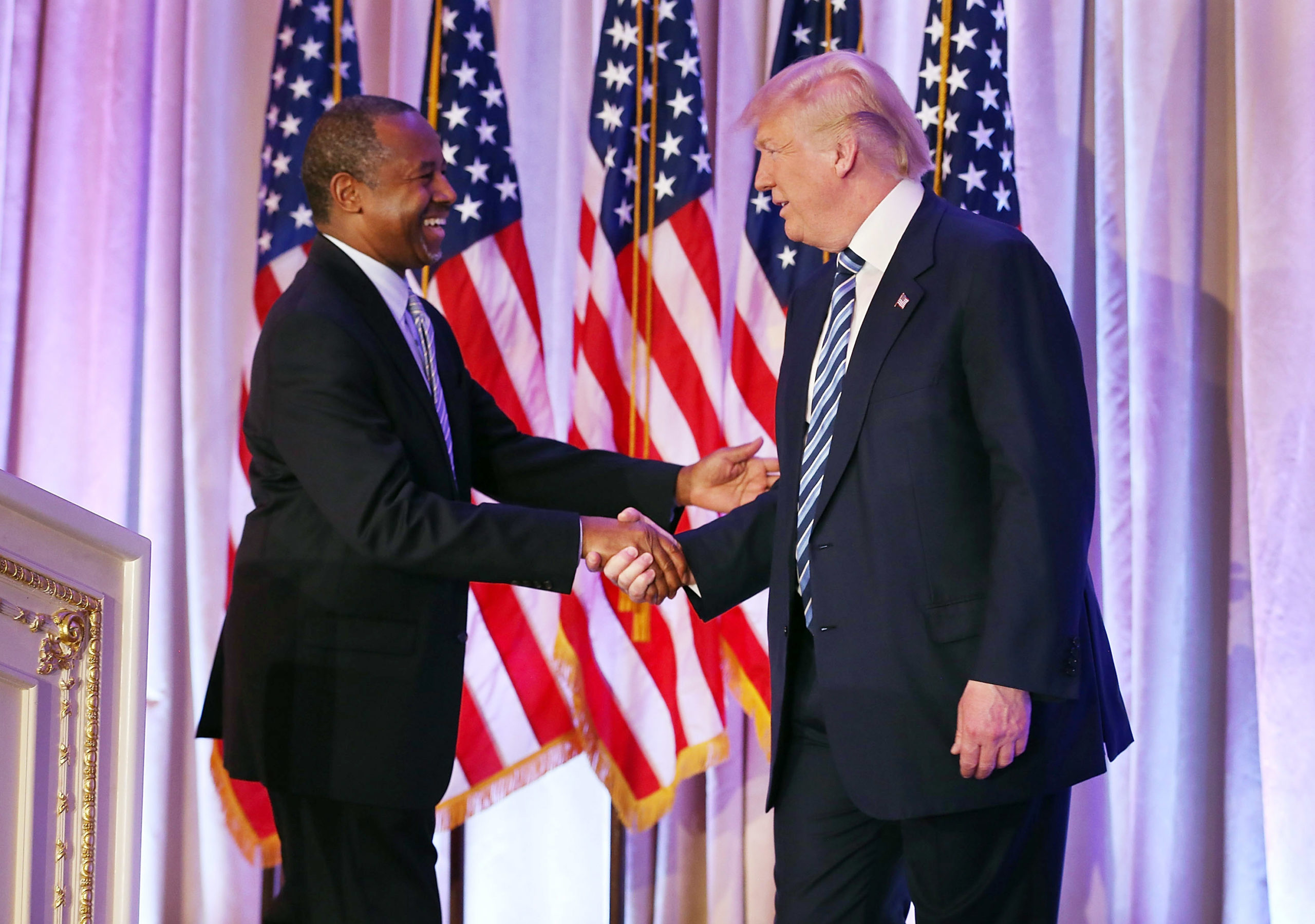 Donald Trump shakes hands with former presidential candidate Ben Carson as he receives his endorsement at the Mar-A-Lago Club on March 11, 2016 in Palm Beach, Florida. (Joe Raedle/Getty Images)