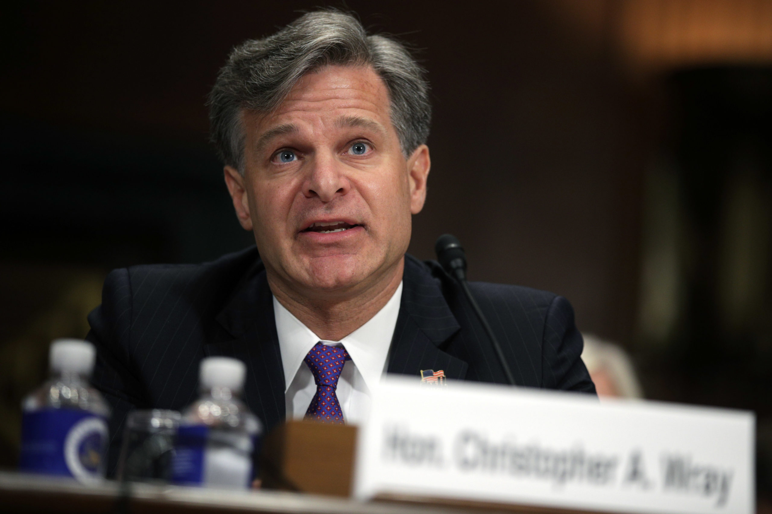 WASHINGTON, DC - JULY 12: FBI director nominee Christopher Wray testifies during his confirmation hearing before the Senate Judiciary Committee July 12, 2017 on Capitol Hill in Washington, DC. If confirmed, Wray will fill the position that has been left behind by former director James Comey who was fired by President Donald Trump about two months ago. (Photo by Alex Wong/Getty Images)