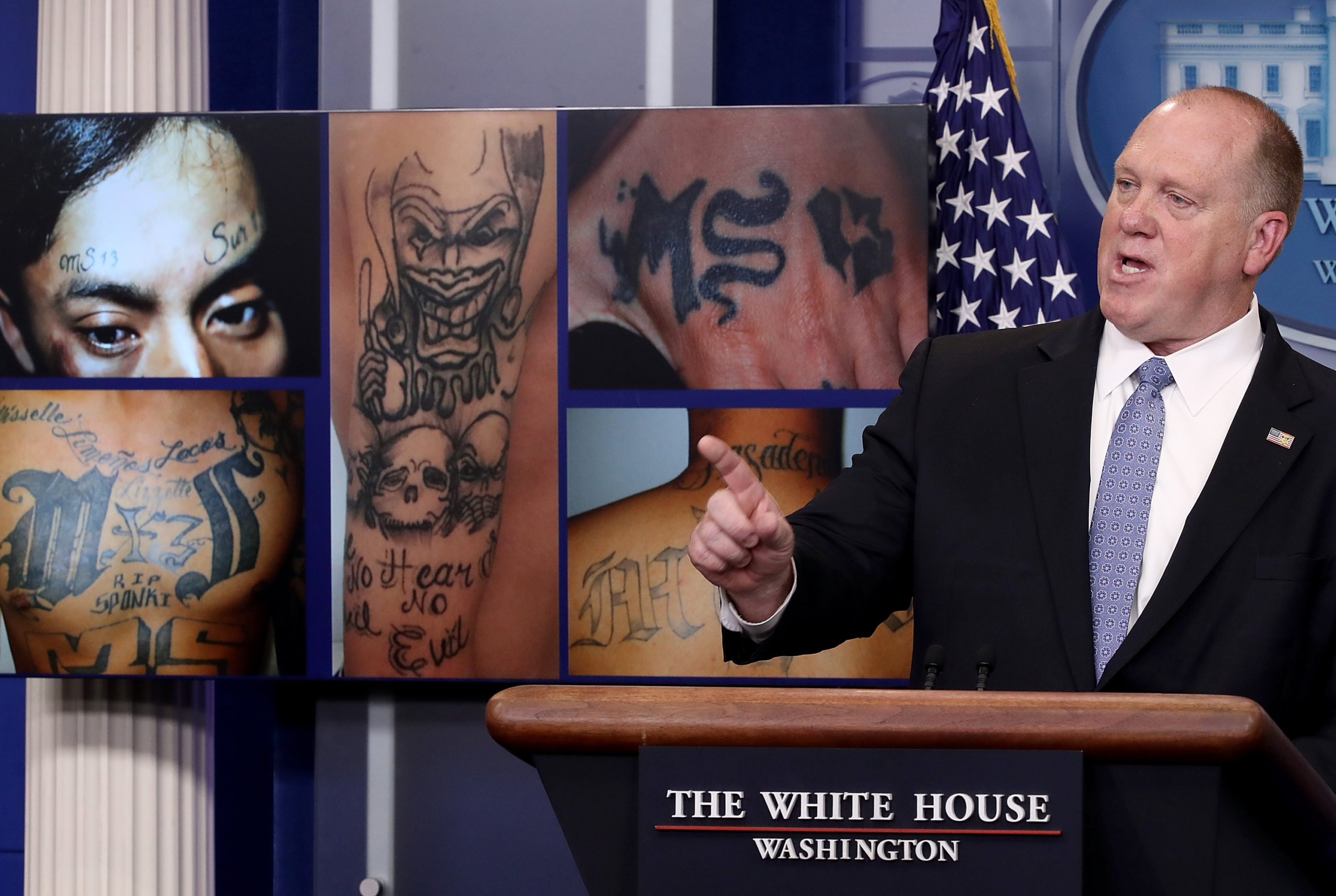 WASHINGTON, DC - JULY 27: Tom Homan, Director of Immigration and Customs Enforcement, answers questions in front of gang related photos from the MS-13 gang during a daily briefing at the White House July 27, 2017 in Washington, DC. Homan answered a range of questions during the briefing. (Win McNamee/Getty Images)