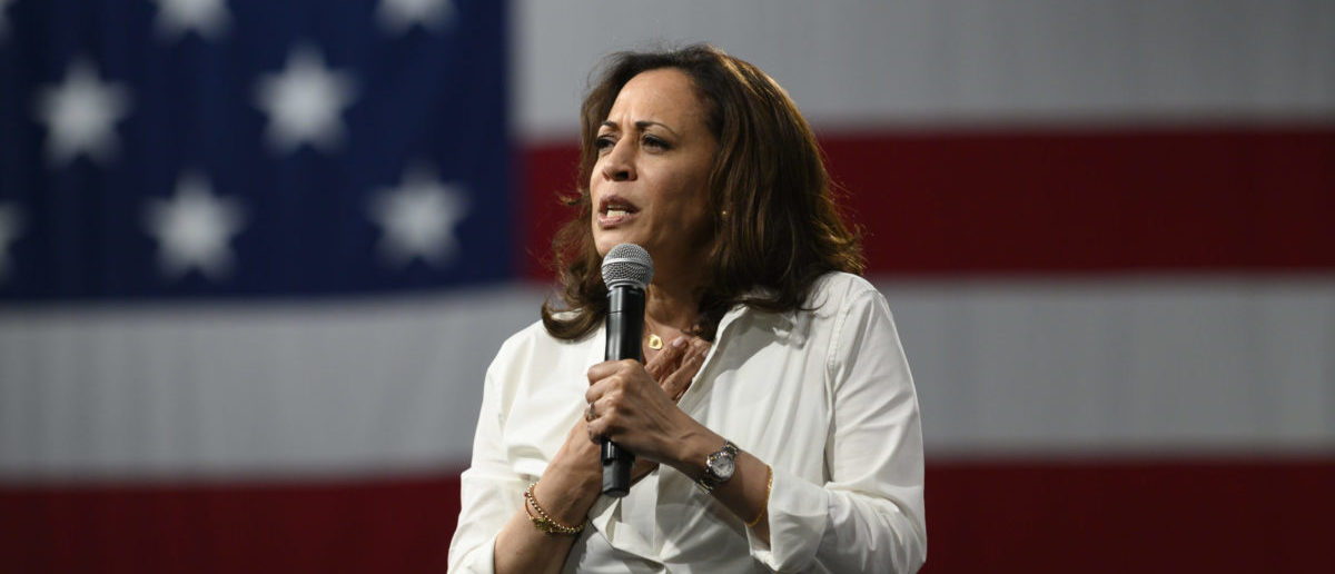 DES MOINES, IA - AUGUST 10: Democratic presidential candidate Sen. Kamala Harris (D-CA) speaks on stage during a forum on gun safety at the Iowa Events Center on August 10, 2019 in Des Moines, Iowa. The event was hosted by Everytown for Gun Safety. (Photo by Stephen Maturen/Getty Images)