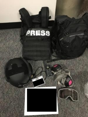 """Body armor with """"press"""" logo recovered by police/PPB Blog"""