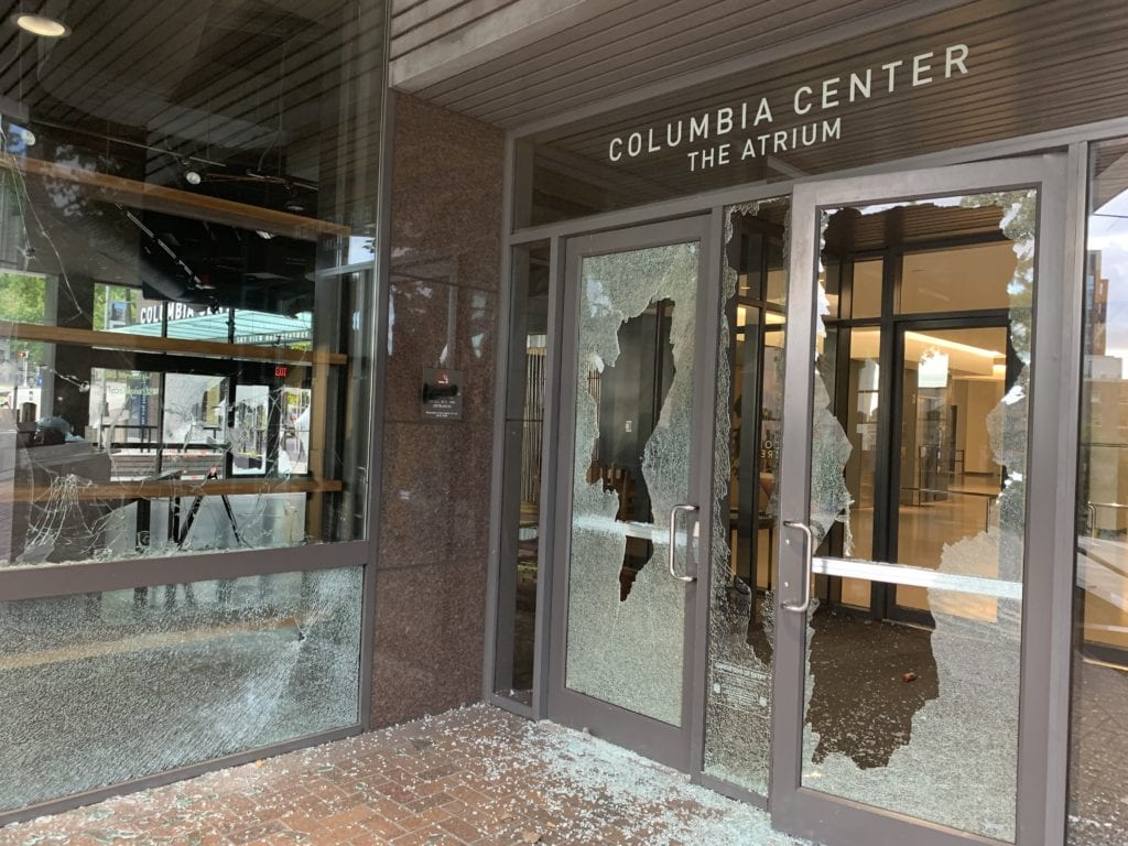 Windows shattered by rioters/SPD Blotter