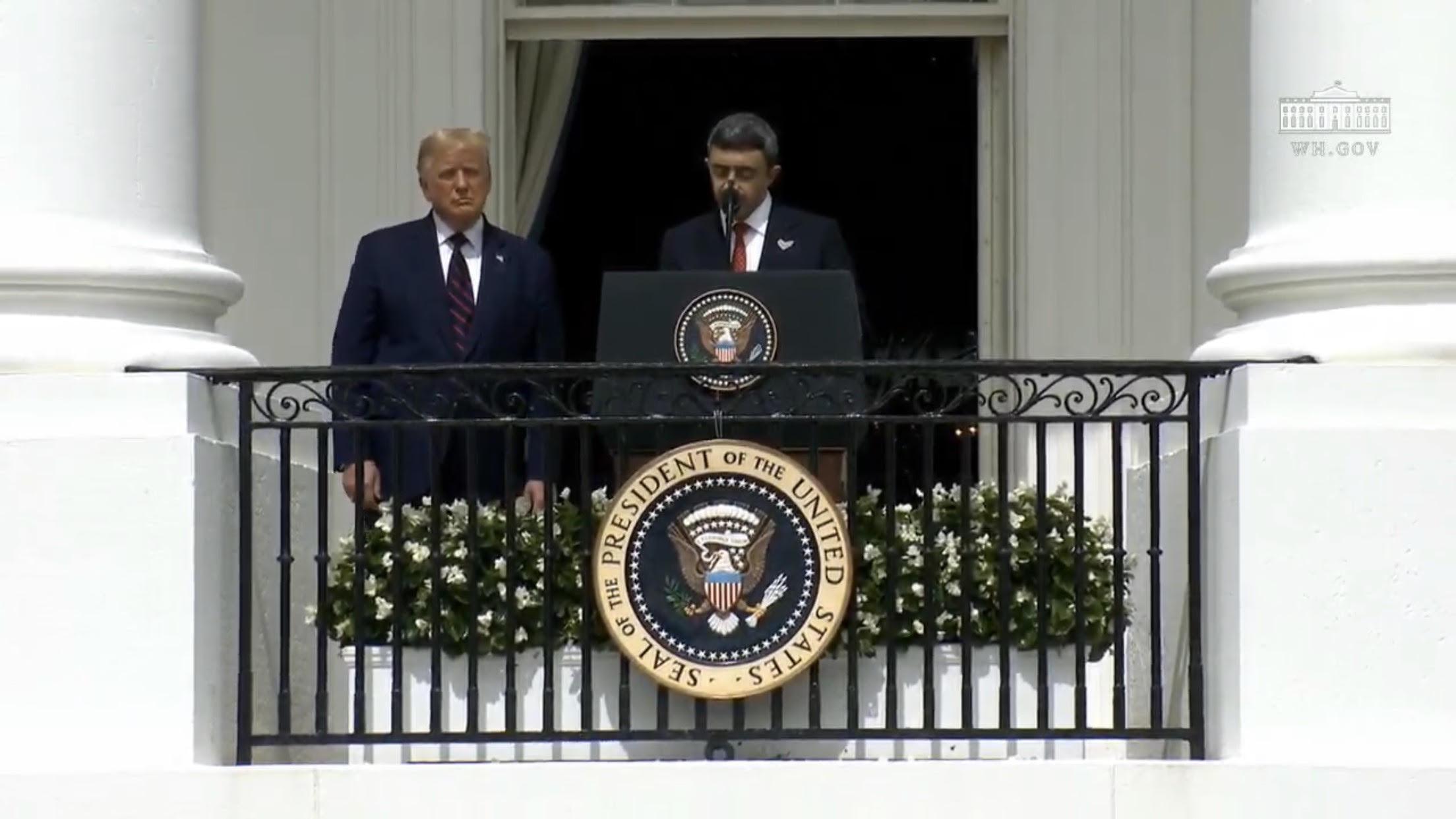 President Trump alongside UAE Foreign Minister Sheikh Abdullah Bin Zayed Al Nahyan. Screenshot/YouTube/White House