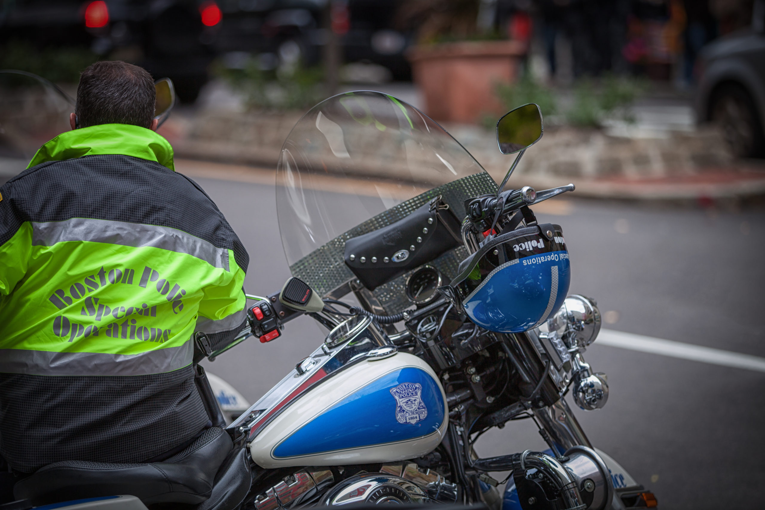 A Boston Police Department Special Operations officer who is a member of the department's motorcycle unit. (Bruce Peter/Shutterstock)