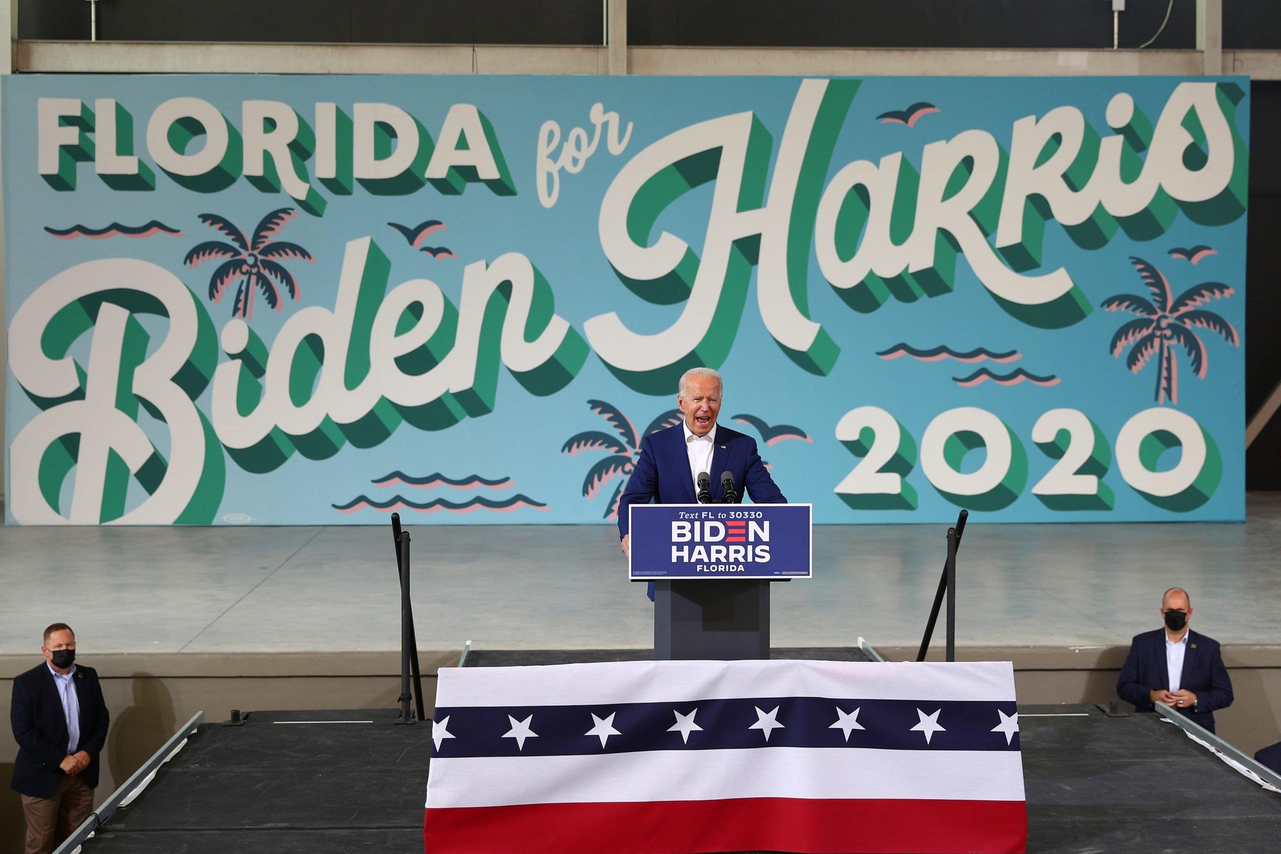 U.S. Democratic presidential candidate Joe Biden delivers remarks during a voter mobilization event, at Miramar Regional Park in Miramar, Florida, U.S., October 13, 2020. REUTERS/Tom Brenner