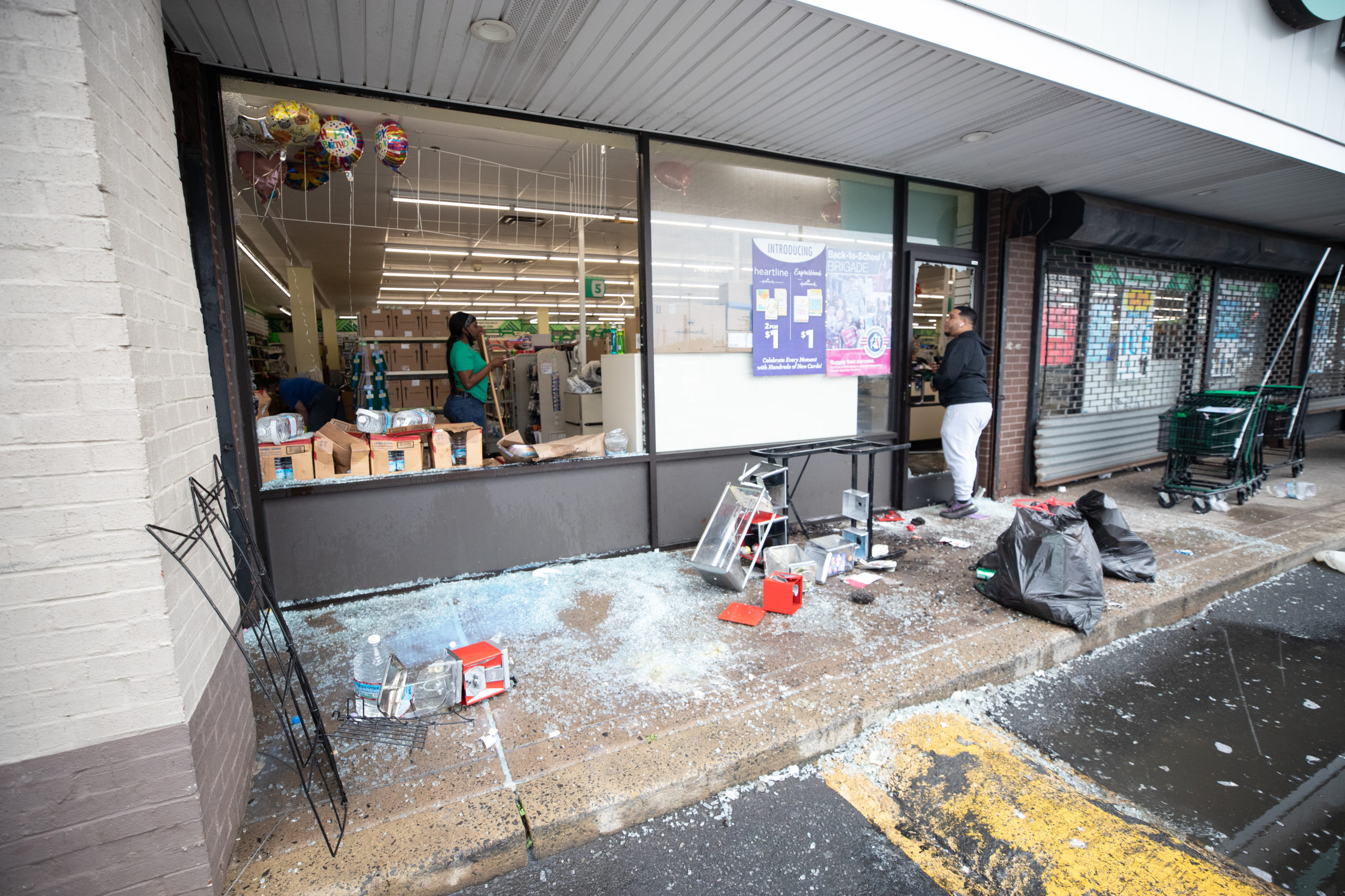 Dollar Tree employees attempted to clean up the store the morning after looters ransacked the shop located off of Aramingo Ave. in Philadelphia, Pennsylvania, on Oct. 28, 2020. (Kaylee Greenlee - Daily Caller News Foundation.