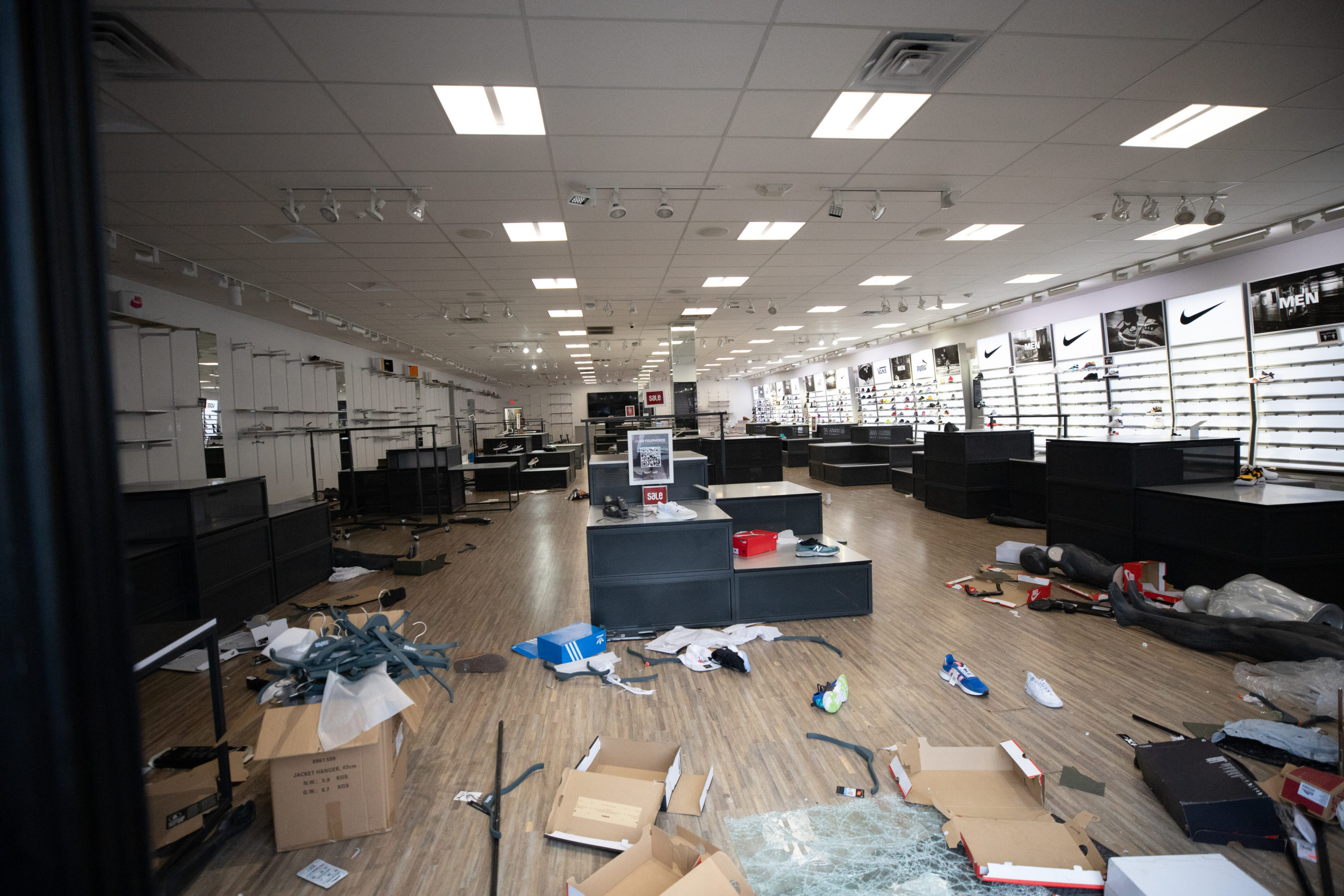 A shoe store was looted off of Aramingo Ave. in Philadelphia, Pennsylvania, on Oct. 27, 2020. (Kaylee Greenlee - Daily Caller News Foundation.