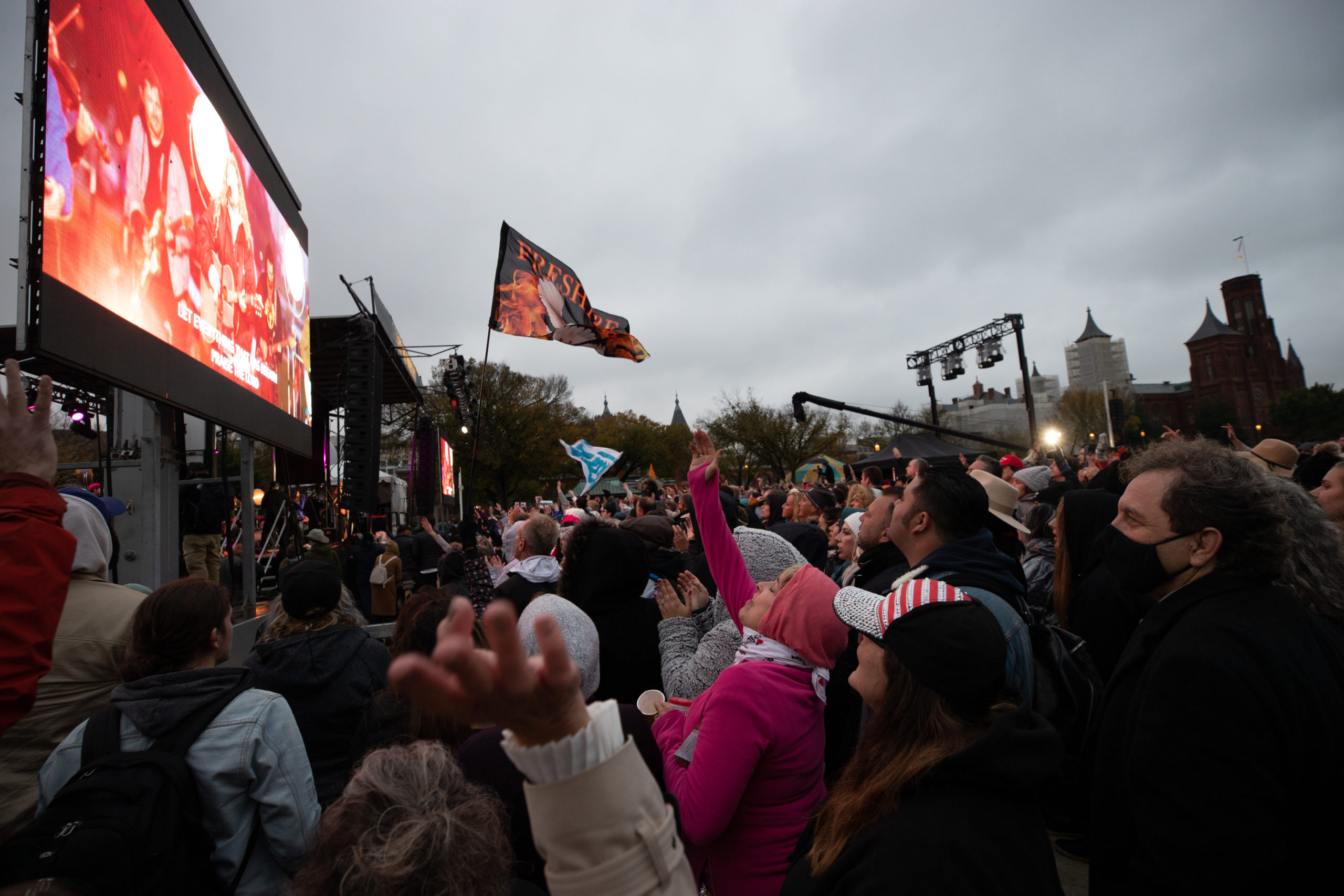 "Attendees sang songs of worship and praise at the ""Let Us Worship"" protest in Washington, D.C. on October 25, 2020. (Kaylee Greenlee - DCNF)"