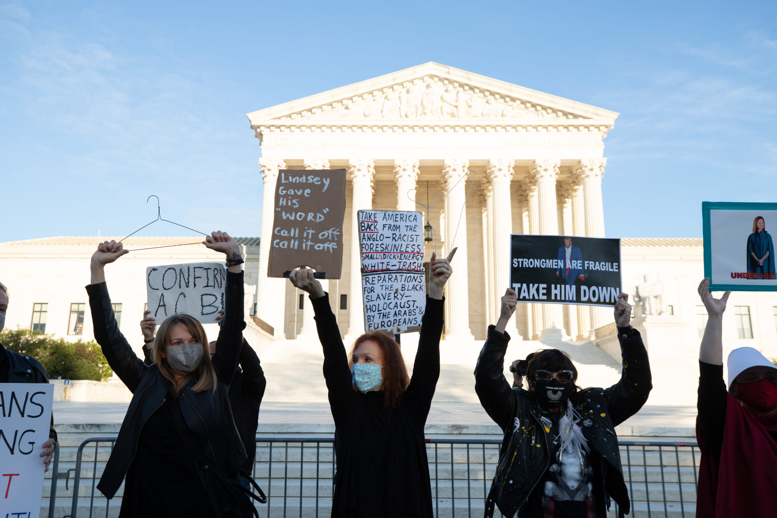 Anti-Amy Coney Barrett demonstrators at the Supreme Court in Washington, D.C. ahead of the Senate vote to confirm Barrett on October 26, 2020. (Kaylee Greenlee - Daily Caller News Foundation)