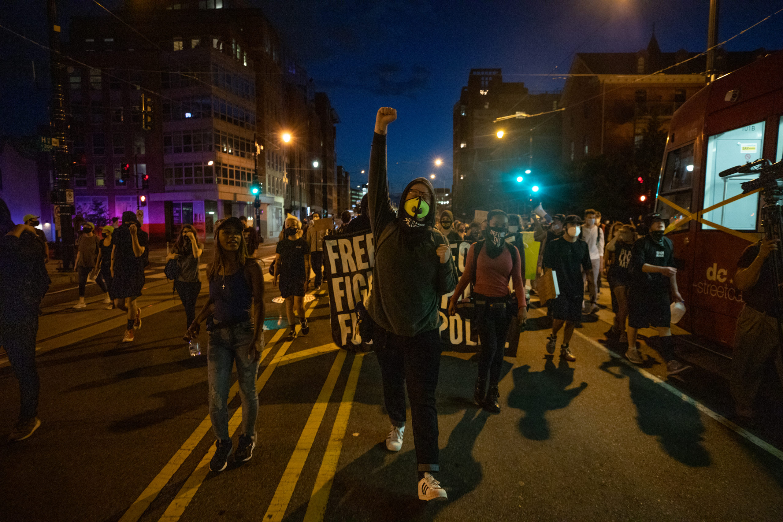 Protesters march on H street in Washington, D.C. on June 25, 2020. (Kaylee Greenlee - DCNF)