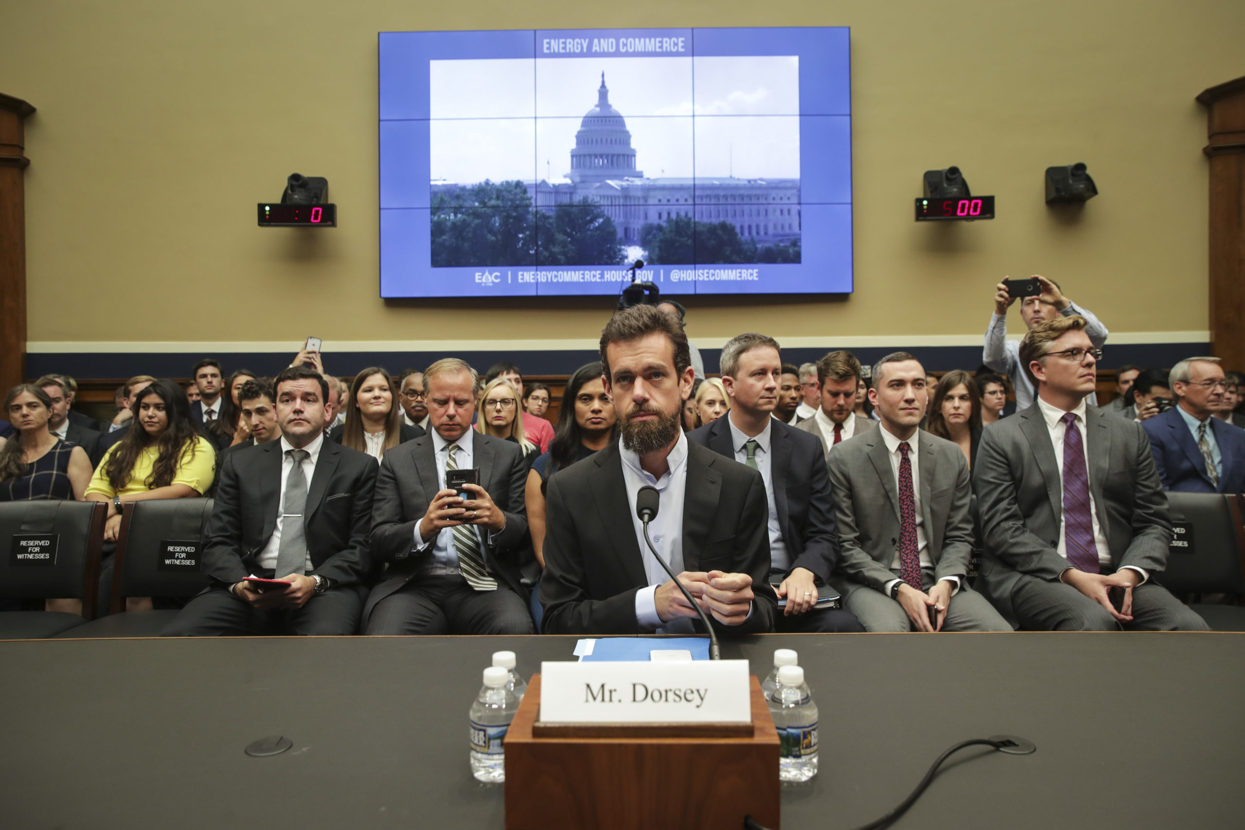 Twitter CEO Jack Dorsey testifies on Capitol Hill in 2018. (Drew Angerer/Getty Images)