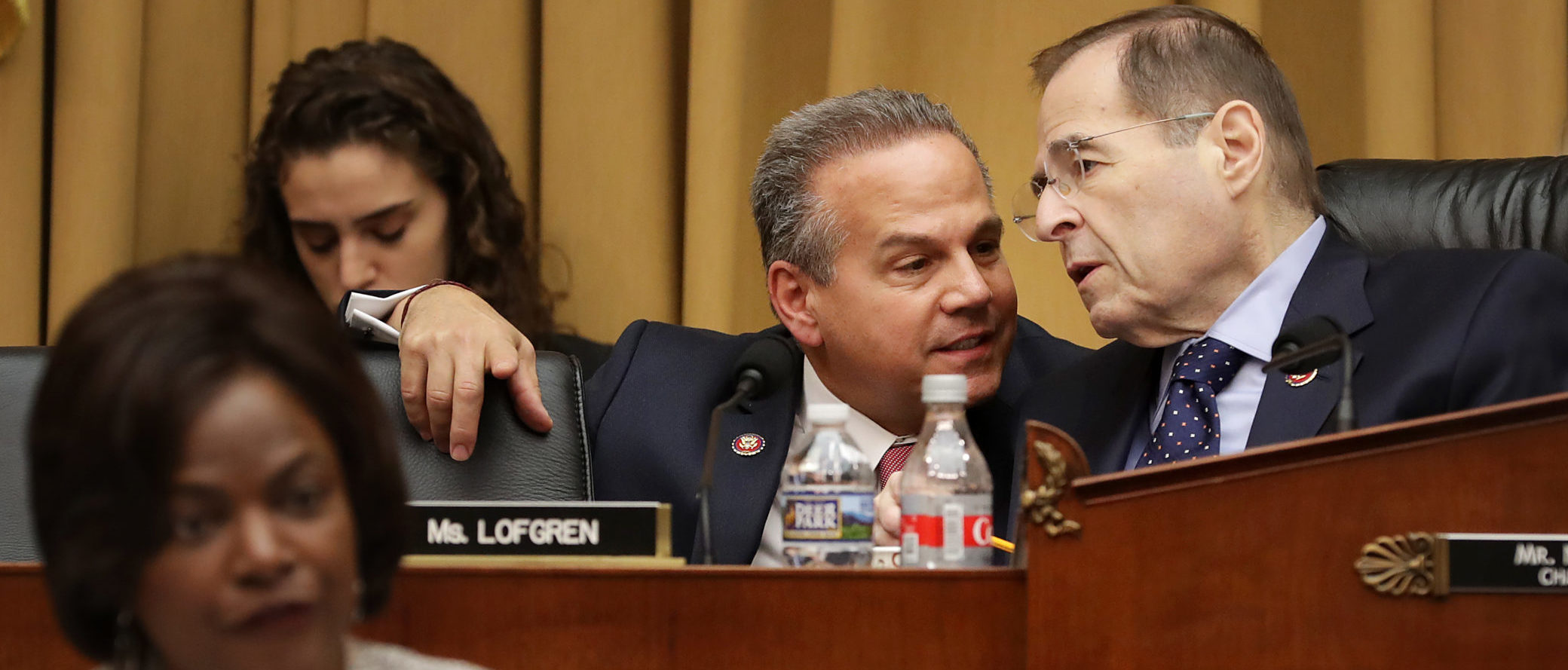 House Judiciary Committee member Rep. David Cicilline talks with Chairman Jerry Nadler during a hearing on Feb. 8, 2019. (Chip Somodevilla/Getty Images)