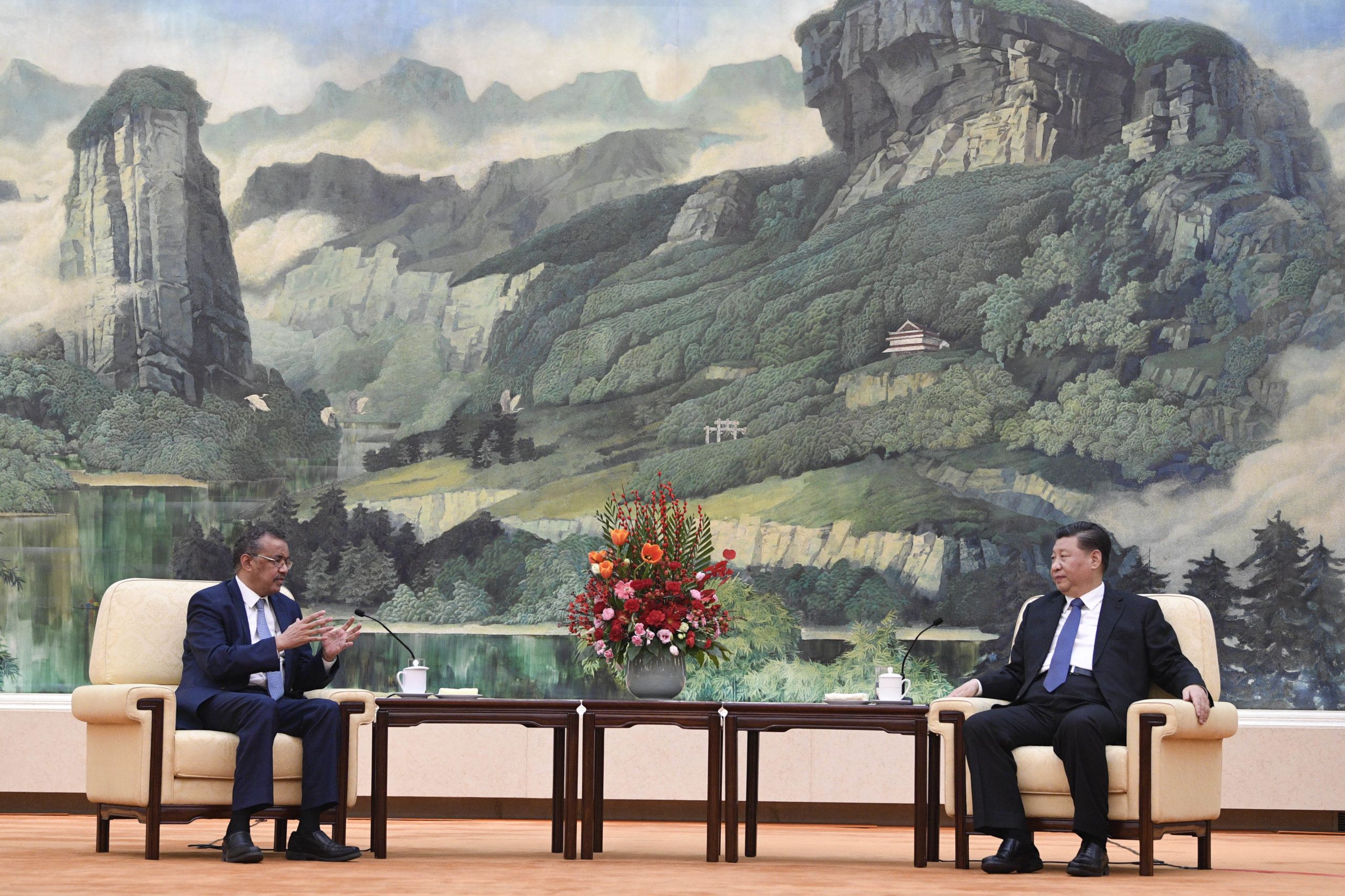Director-General Tedros Adhanom of the World Health Organization, meets with Chinese President Xi Jinping on Jan. 28 in Beijing, China. (Naohiko Hatta/Pool/Getty Images)