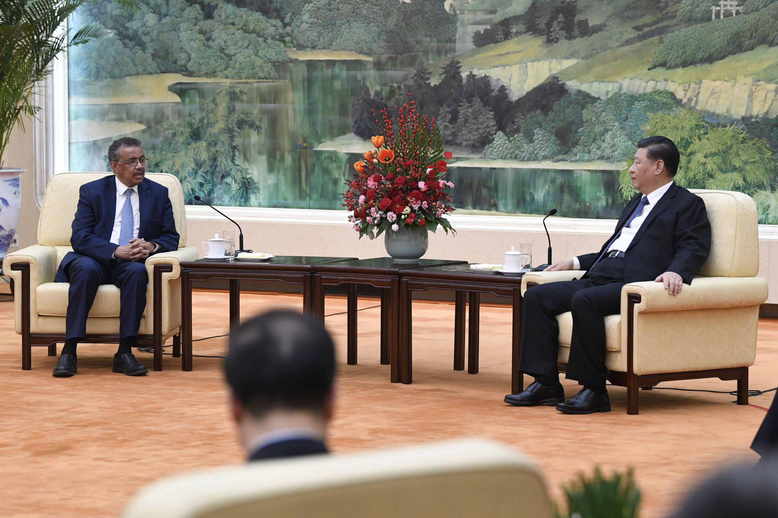 World Health Organization director general Tedros Adhanom attends a meeting with Chinese President Xi Jinping in Beijing on Jan. 28. (Naohiko Hatta/AFP via Getty Images)