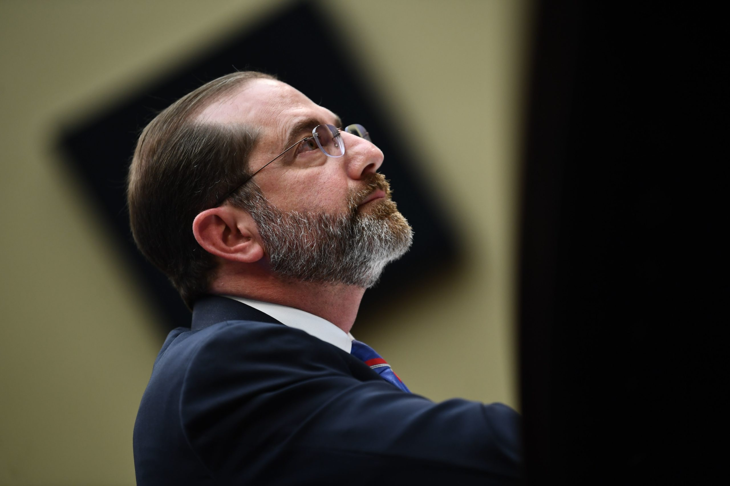Health and Human Services Sec. Alex Azar listens during a House hearing on Feb. 26 Washington D.C. (Brendan Smialowski/AFP via Getty Images)