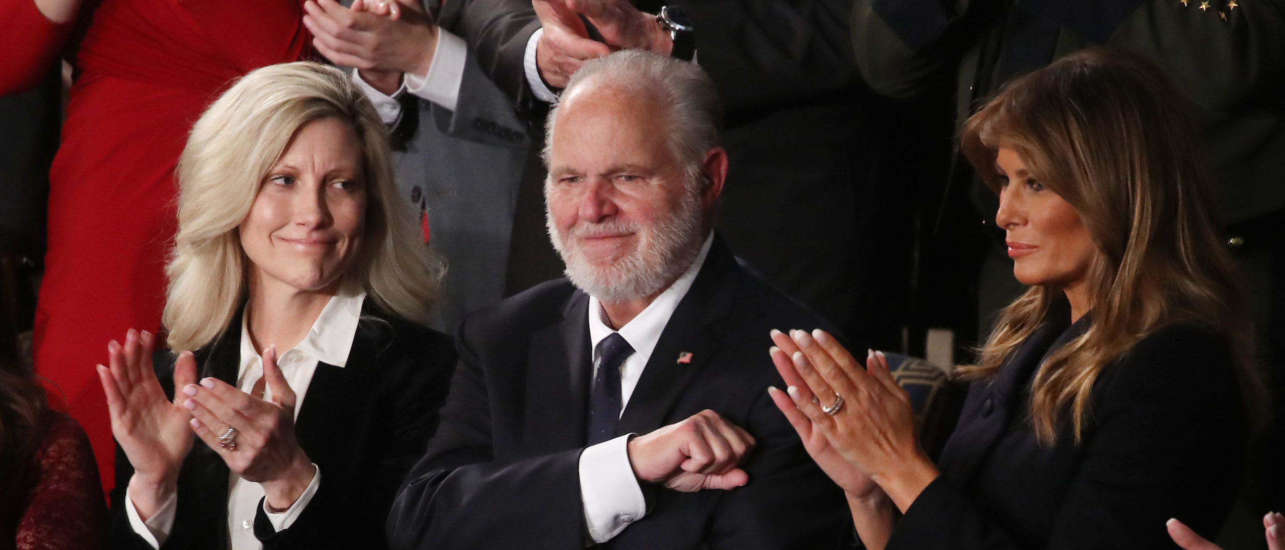 WASHINGTON, DC - FEBRUARY 04: Radio personality Rush Limbaugh and wife Kathryn (L) attend the State of the Union address with First Lady Melania Trump in the chamber of the U.S. House of Representatives on February 04, 2020 in Washington, DC. President Trump delivers his third State of the Union to the nation the night before the U.S. Senate is set to vote in his impeachment trial. (Photo by Mark Wilson/Getty Images)