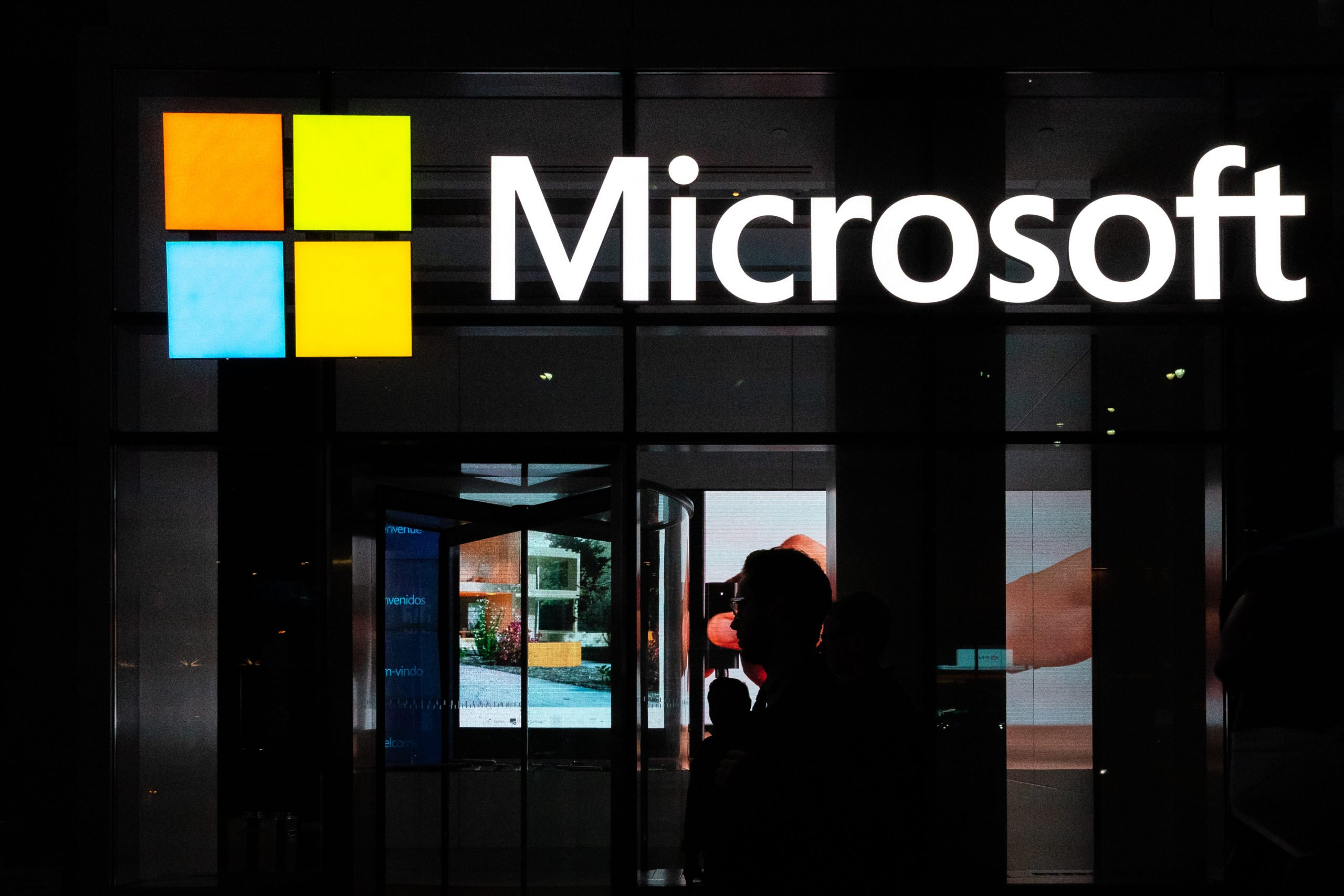 NEW YORK, NY - MARCH 13: A signage of Microsoft is seen on March 13, 2020 in New York City. Co-founder and former CEO of Microsoft Bill Gates steps down from Microsoft board to spend more time on the Bill and Melinda Gates Foundation. (Photo by Jeenah Moon/Getty Images)