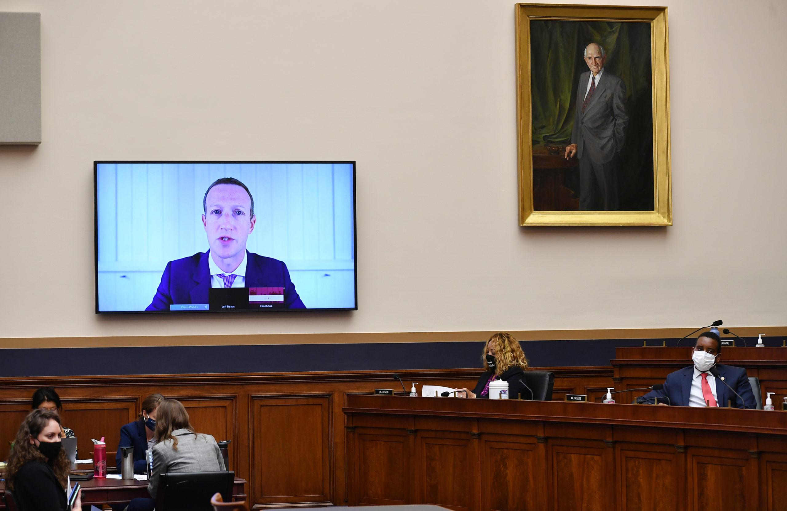 Facebook CEO Mark Zuckerberg testifies before the House Judiciary Committee July 29. (Mandel Ngan-Pool/Getty Images)
