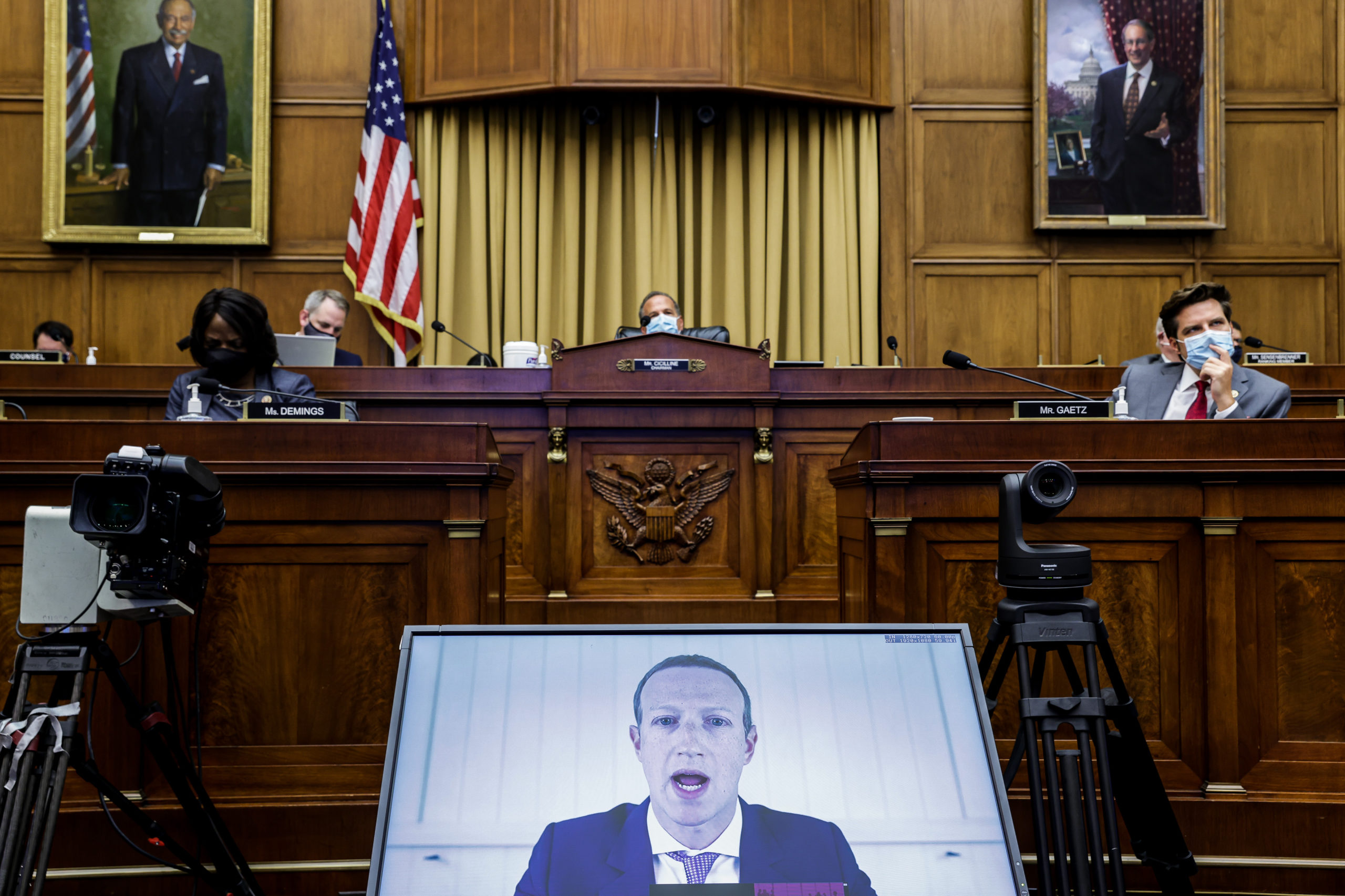 Facebook CEO Mark Zuckerberg speaks via video conference during a House Judiciary hearing on July 29. (Graeme Jennings-Pool/Getty Images)