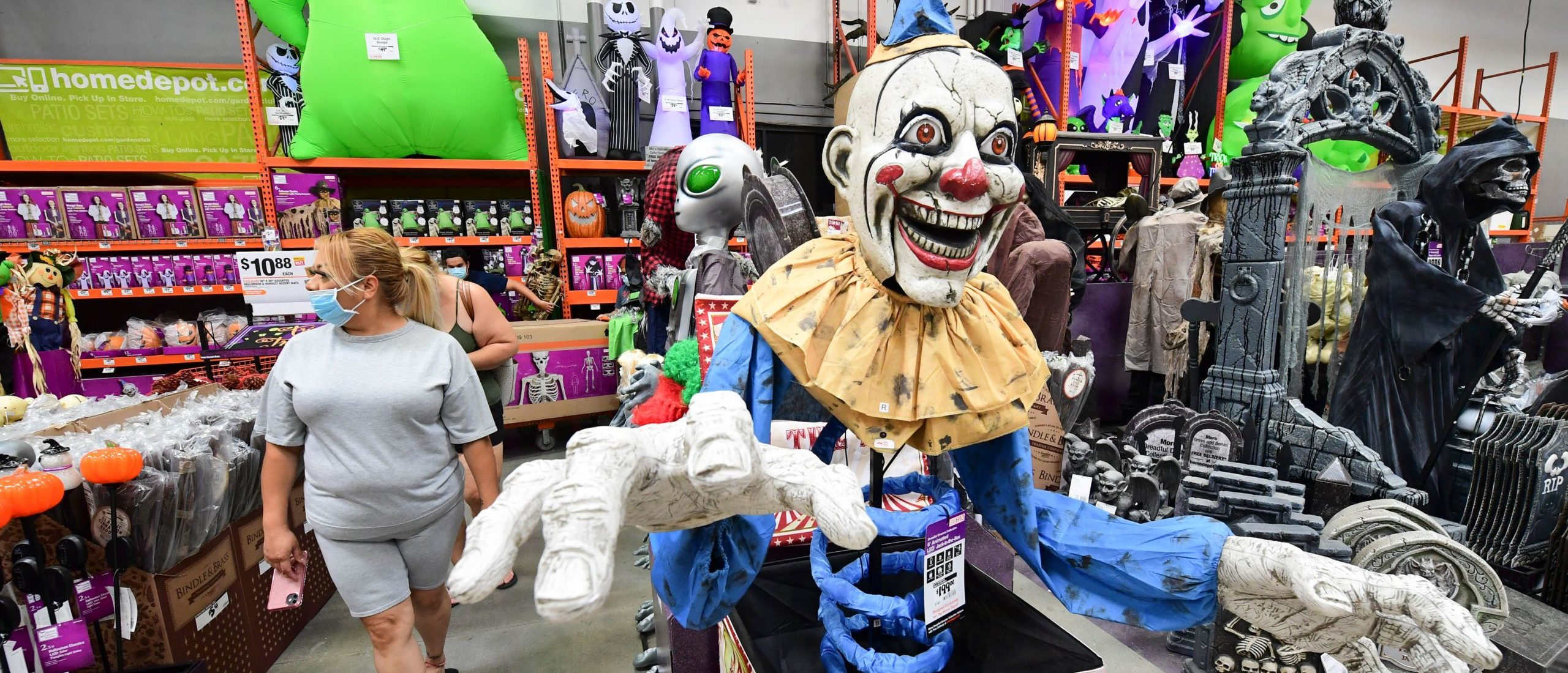 People shop for Halloween items at a home improvement retailer store in Alhambra, California on September 9, 2020. (Photo by Frederic J. BROWN / AFP) (Photo by FREDERIC J. BROWN/AFP/Getty Images)