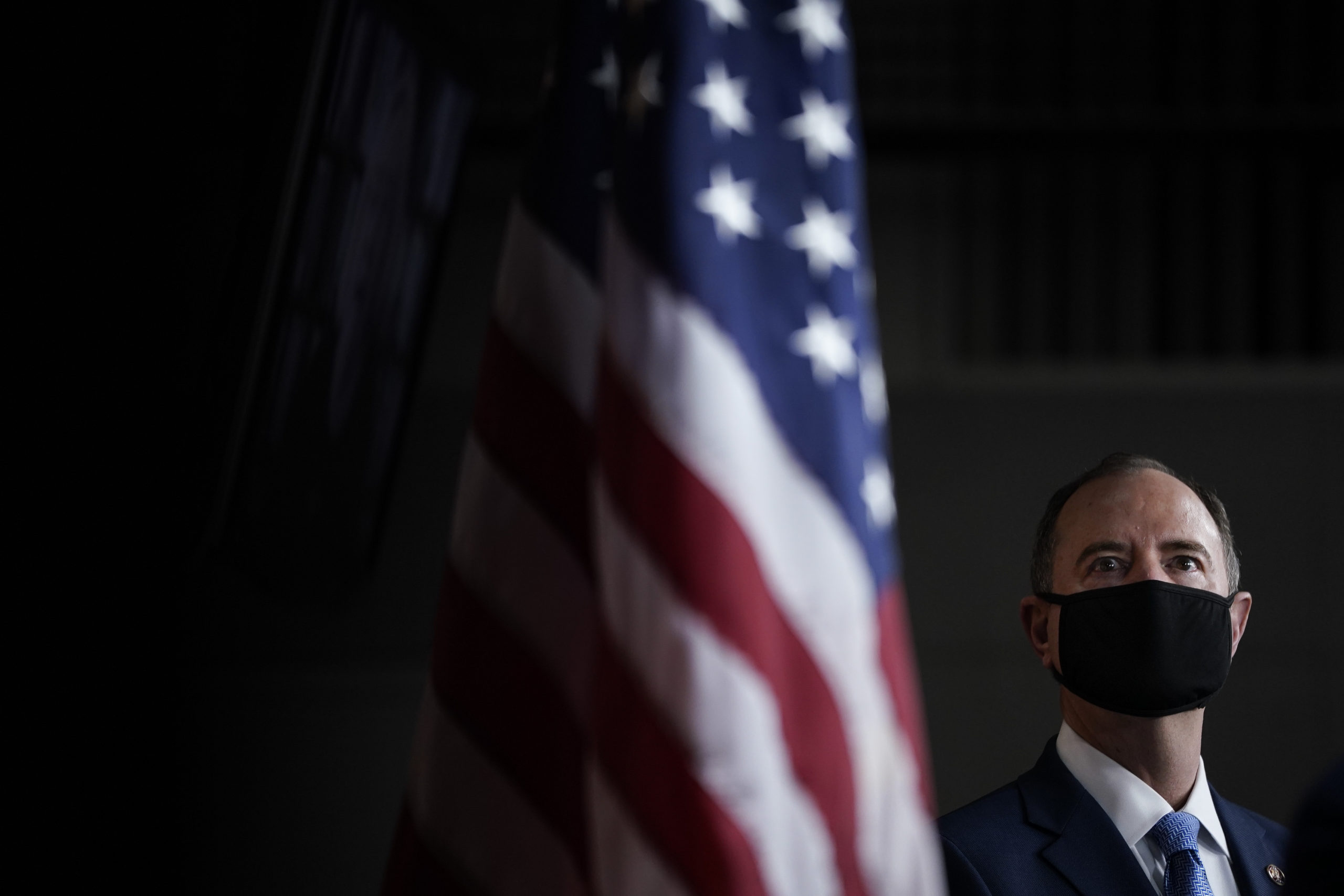 WASHINGTON, DC - SEPTEMBER 23: Rep. Adam Schiff (D-CA) attends a news conference at the U.S. Capitol on September 23, 2020 in Washington, DC. Speaker of the House Nancy Pelosi and fellow House Democrats introduced a package of sweeping reforms aimed at curbing presidential abuse of power. (Photo by Drew Angerer/Getty Images)