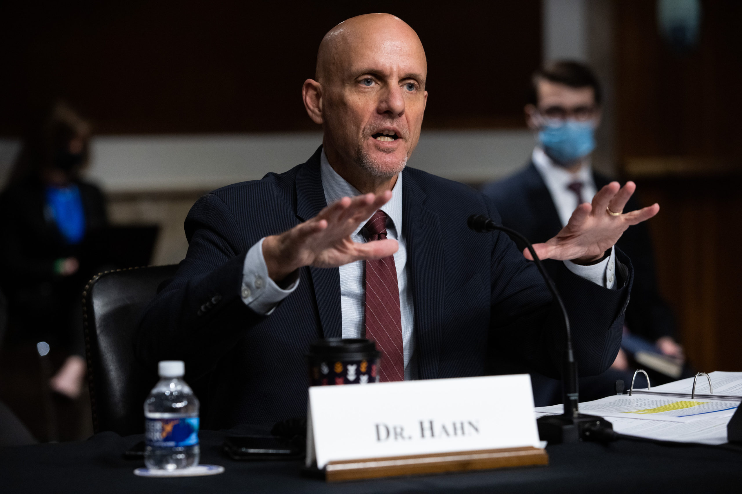 Dr. Stephen Hahn, testifies during a Senate hearing to examine coronavirus, focusing on an update on the federal response in Washington, DC, on Sept. 23. (Graeme Jennings/Pool/AFP via Getty Images)