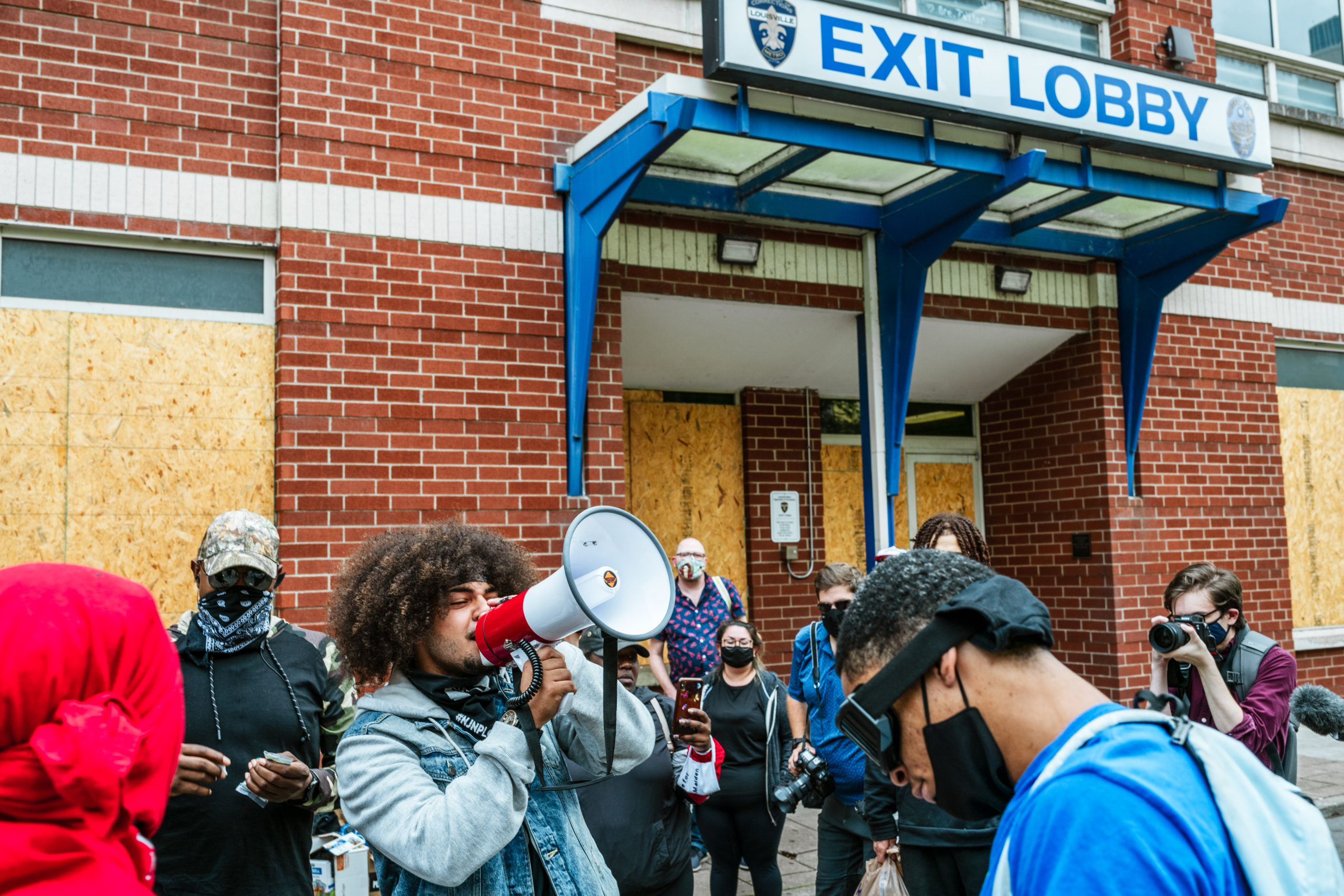 Protesters gather in front of the Metro Department of Corrections and demand the release of jailed demonstrators on September 24, 2020 in Louisville, Kentucky. (Jon Cherry/Getty Images)