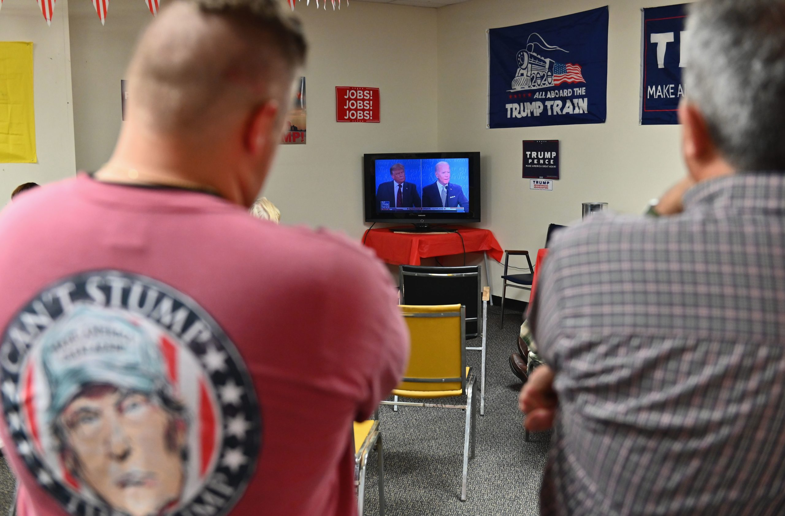 Trump supporters watch the first presidential debate between President Donald Trump and Democratic presidential nominee Joe Biden on September 29, 2020 in Old Forge, near Scranton, Pennsylvania. (Angela Weiss/AFP via Getty Images)