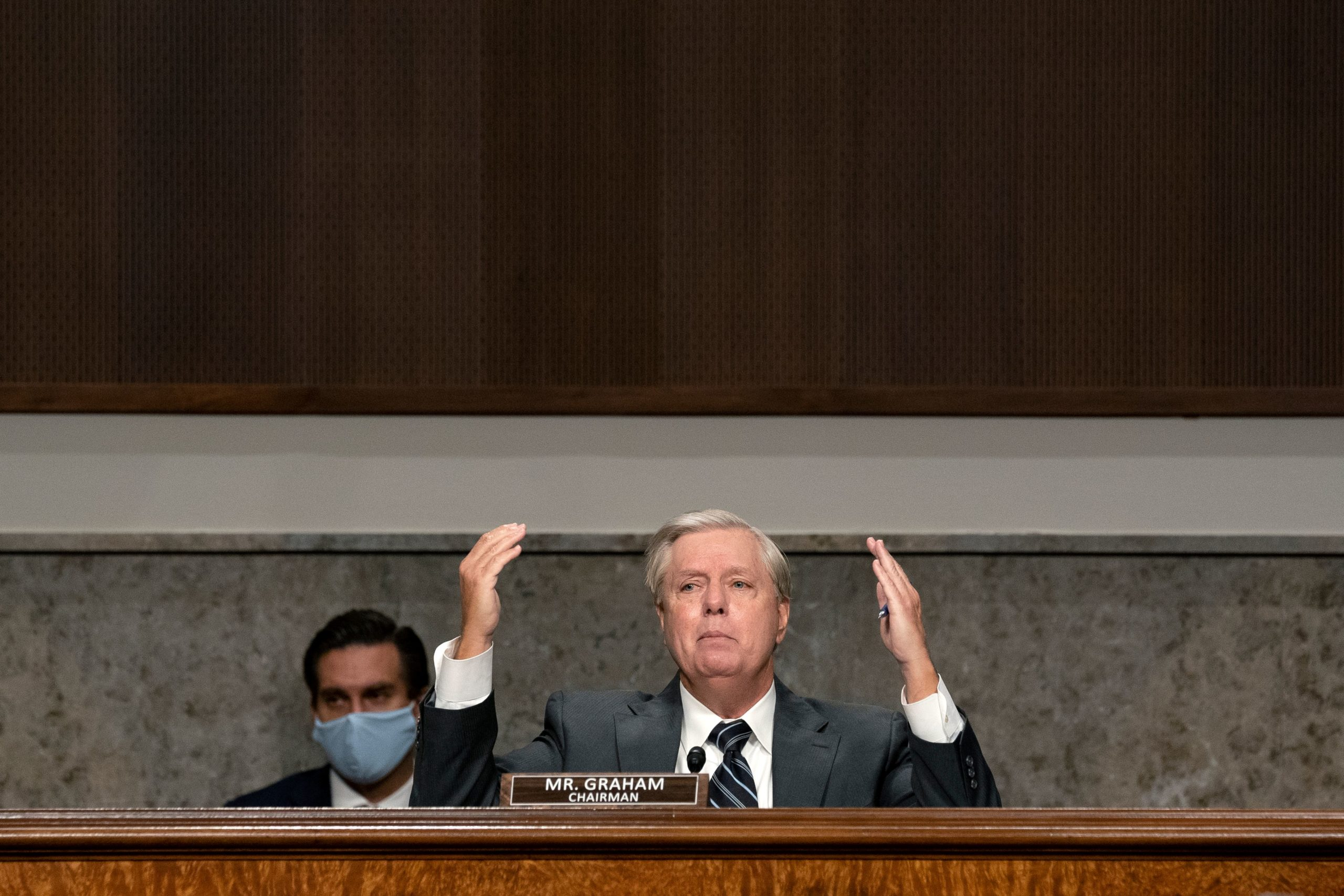 Sen. Lindsey Graham, a Republican from South Carolina and chairman of the Senate Judiciary Committee, speaks during a hearing on Sept. 30. (Stefani Reynolds/Pool/AFP via Getty Images)