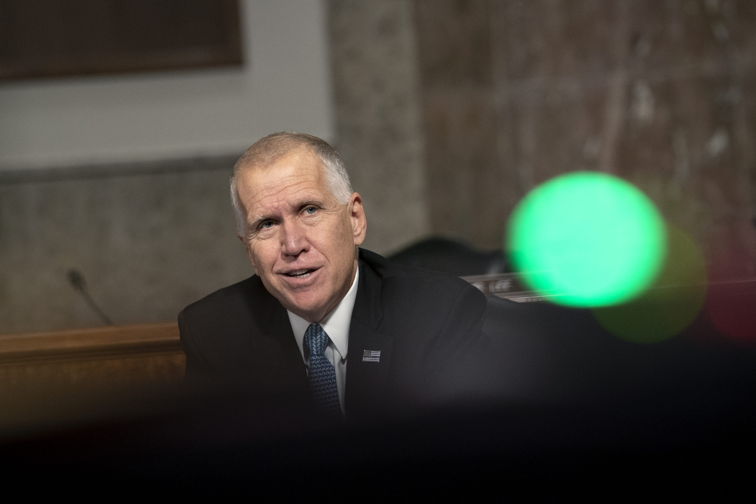 WASHINGTON, DC - SEPTEMBER 30: Sen. Thom Tillis (R-NC) speaks during a Senate Judiciary Committee hearing on Wednesday, September 30, 2020 on Capitol Hill in Washington, DC. The committee is exploring the FBI's investigation of the 2016 Trump campaign and Russian election interference. (Photo by Stefani Reynolds-Pool/Getty Images)