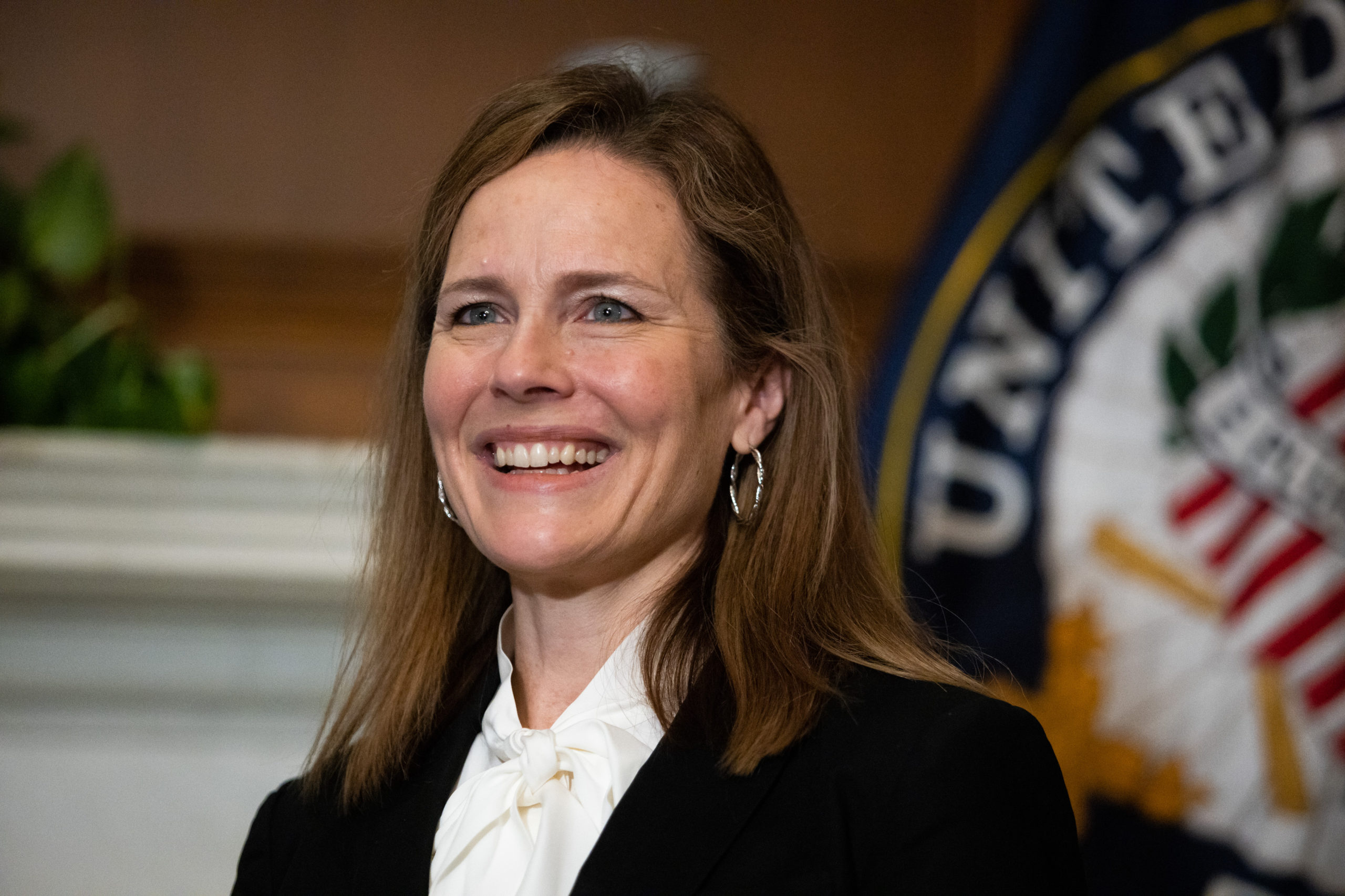 WASHINGTON, DC - OCTOBER 1: Seventh U.S. Circuit Court Judge Amy Coney Barrett, President Trump's pick for the Supreme Court, meets with Sen. Roger Wicker (R-MS) in the Mansfield Room of the U.S. Capitol on October 1, 2020 in Washington, DC. Barrett is meeting with senators ahead of her confirmation hearing on October 12, less than a month before the general election. (Graeme Jennings-Pool/Getty Images)