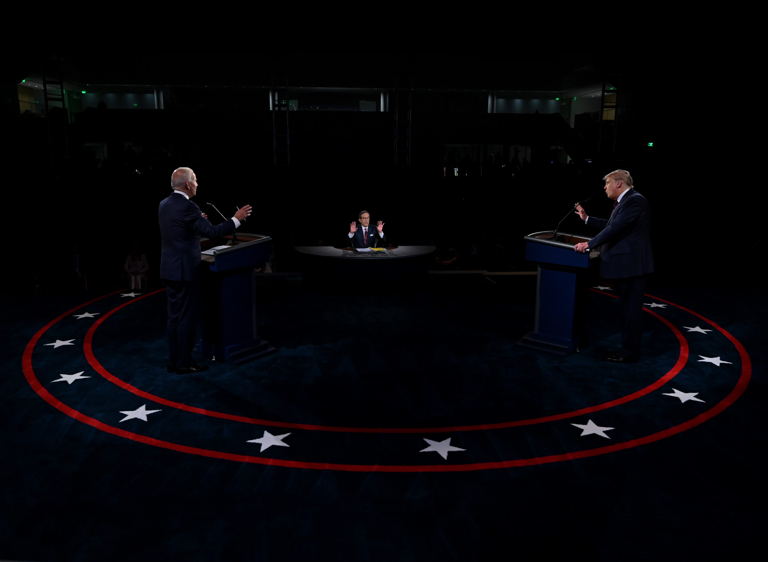 CLEVELAND, OHIO - SEPTEMBER 29: US President Donald Trump (R) and former Vice President and Democratic presidential nominee Joe Biden participate in the first presidential debate at the Health Education Campus of Case Western Reserve University on September 29, 2020 in Cleveland, Ohio. This is the first of three planned debates between the two candidates in the lead up to the election on November 3. (Photo by Olivier Douliery-Pool/Getty Images)