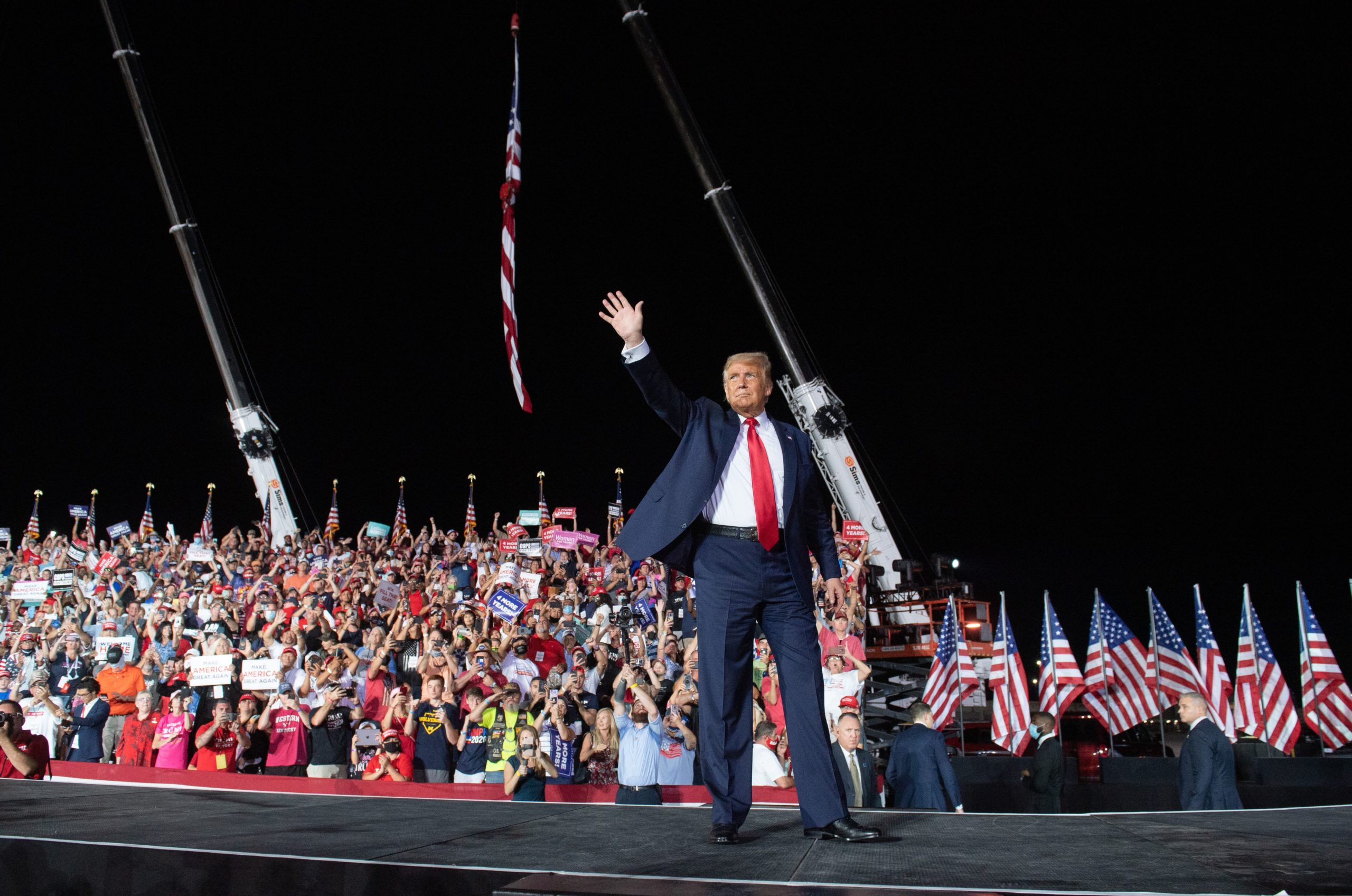 US President Donald Trump holds a Make America Great Again rally as he campaigns at Orlando Sanford International Airport in Sanford, Florida, October 12, 2020. (Photo by SAUL LOEB/AFP via Getty Images)