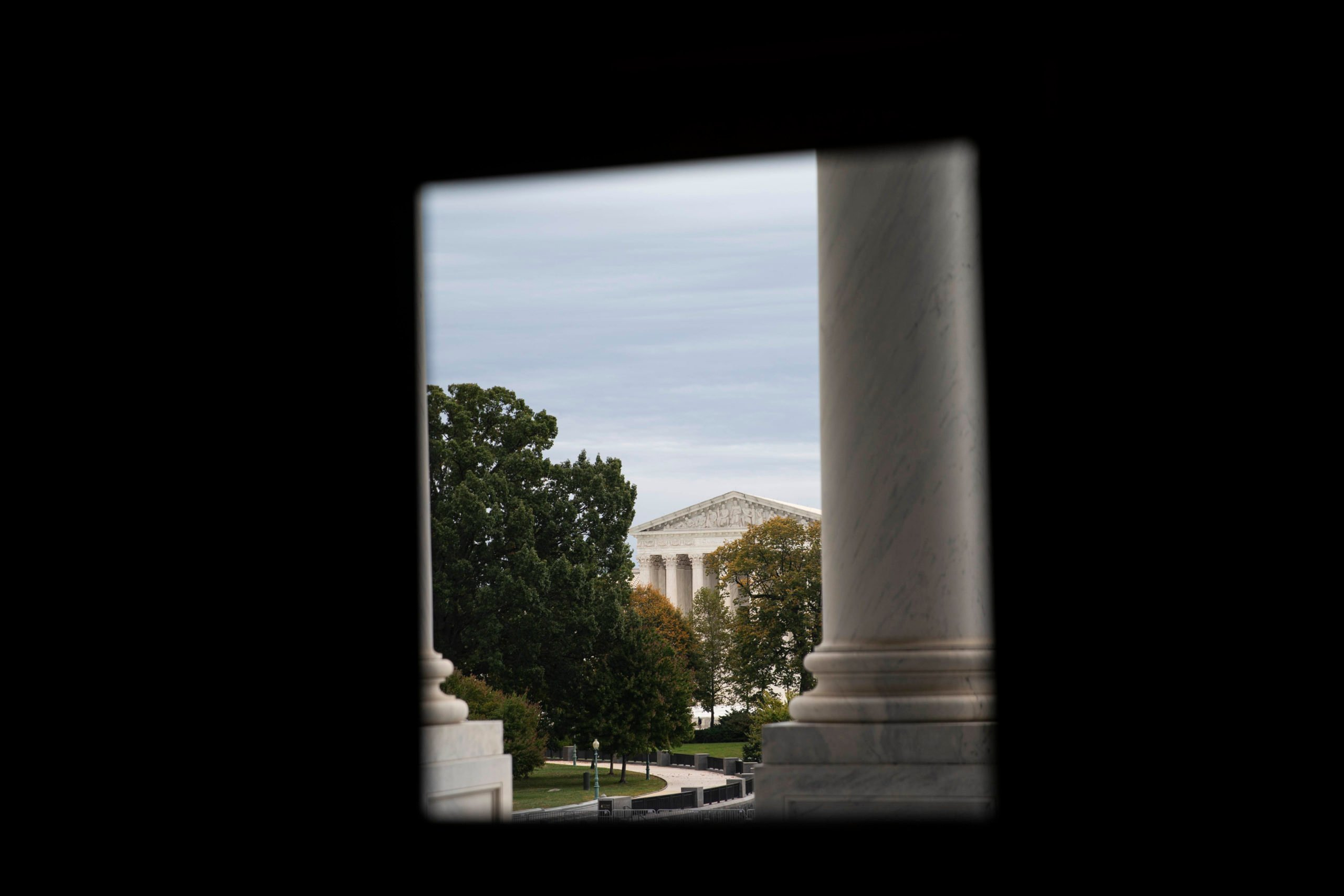 WASHINGTON, DC - OCTOBER 16: The Supreme Court of the United States is seen from a window in the U.S. Capitol building on October 16, 2020 on Capitol Hill in Washington, DC. With less than three weeks before the November presidential elections, the Trump administration and House Speaker Nancy Pelosi are continuing their ongoingnegotiations for a stimulus deal. (Photo by Sarah Silbiger/Getty Images)