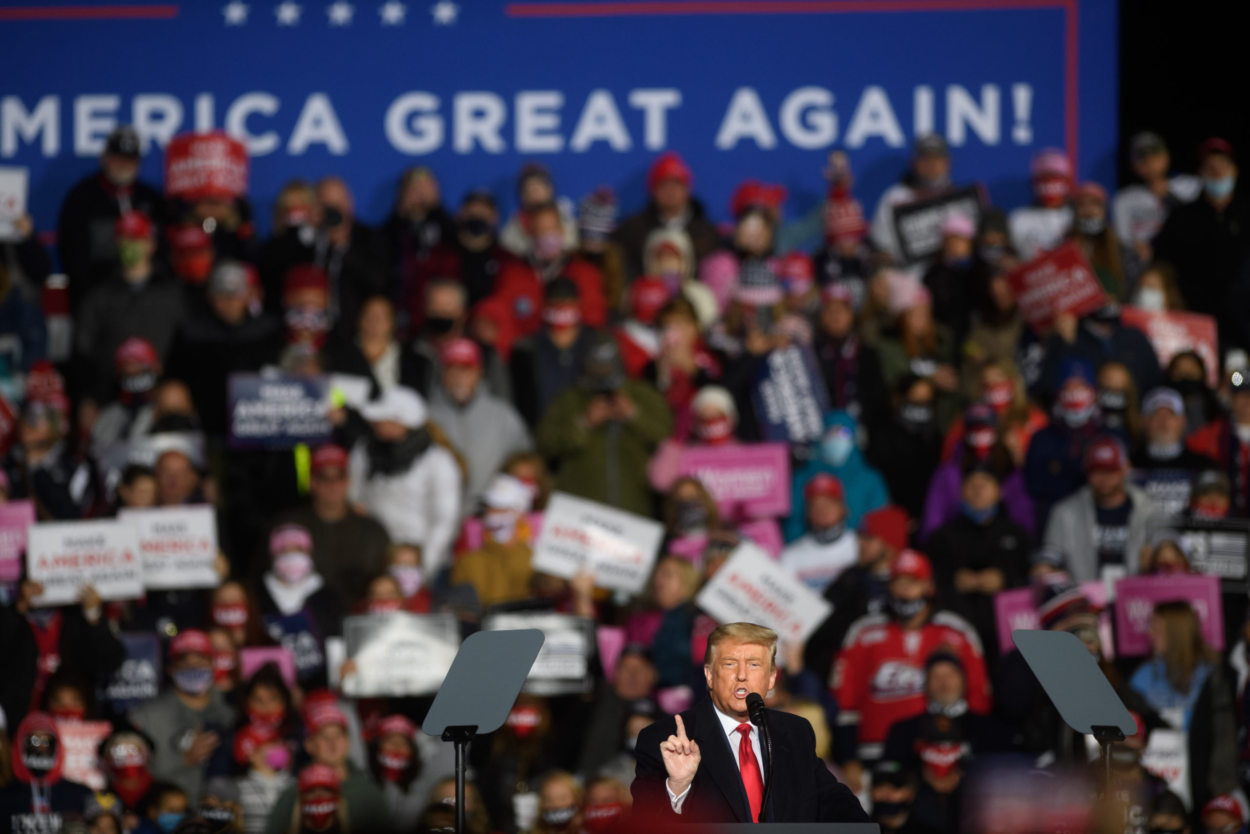 ERIE, PA - OCTOBER 20: U.S. President Donald Trump speaks at a campaign rally at North Coast Air aeronautical services at Erie International Airport on October 20, 2020 in Erie, Pennsylvania. Trump is holding the rally two days ahead of the final presidential debate. (Photo by Jeff Swensen/Getty Images)