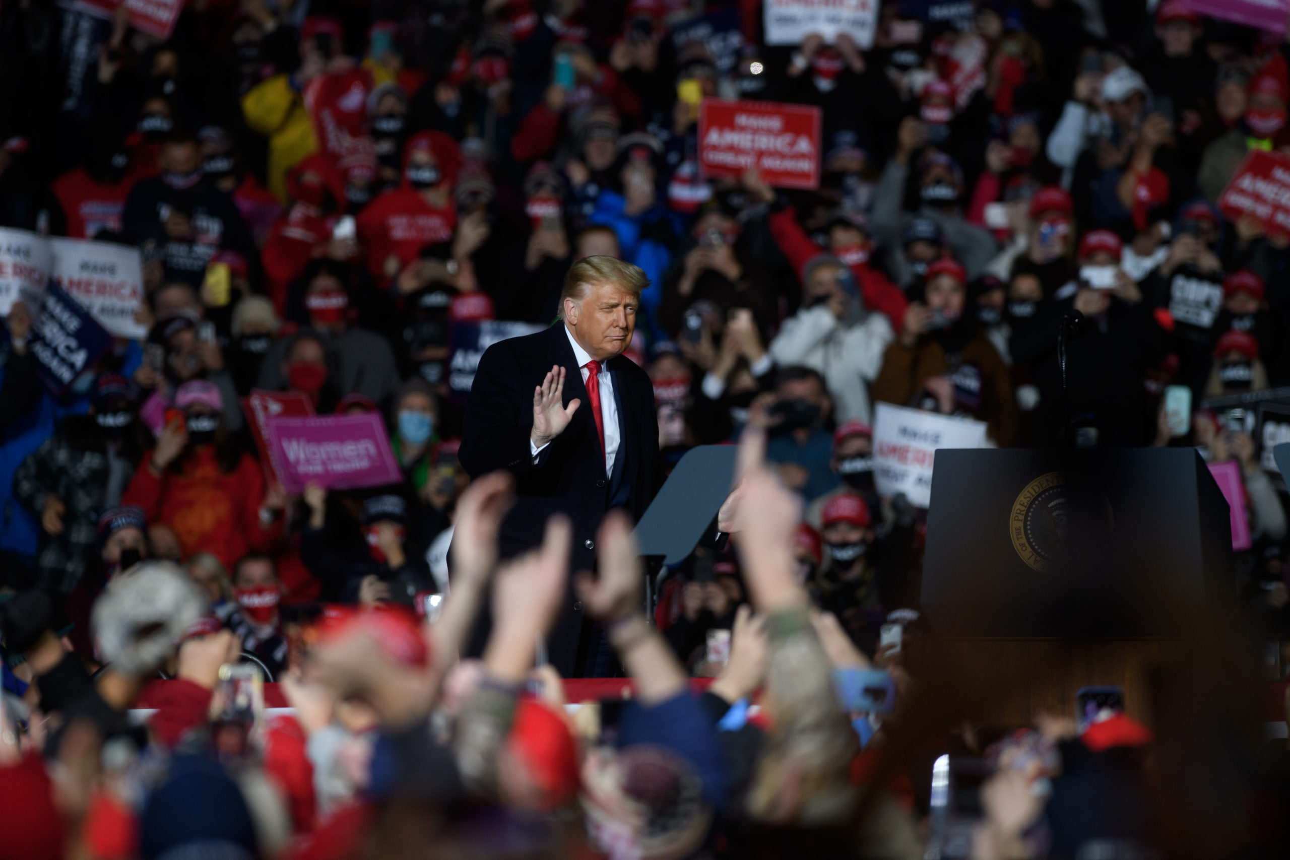 ERIE, PA - OCTOBER 20: U.S. President Donald Trump holds a campaign rally at North Coast Air aeronautical services at Erie International Airport on October 20, 2020 in Erie, Pennsylvania. Trump is holding the rally two days ahead of the final presidential debate. (Photo by Jeff Swensen/Getty Images)