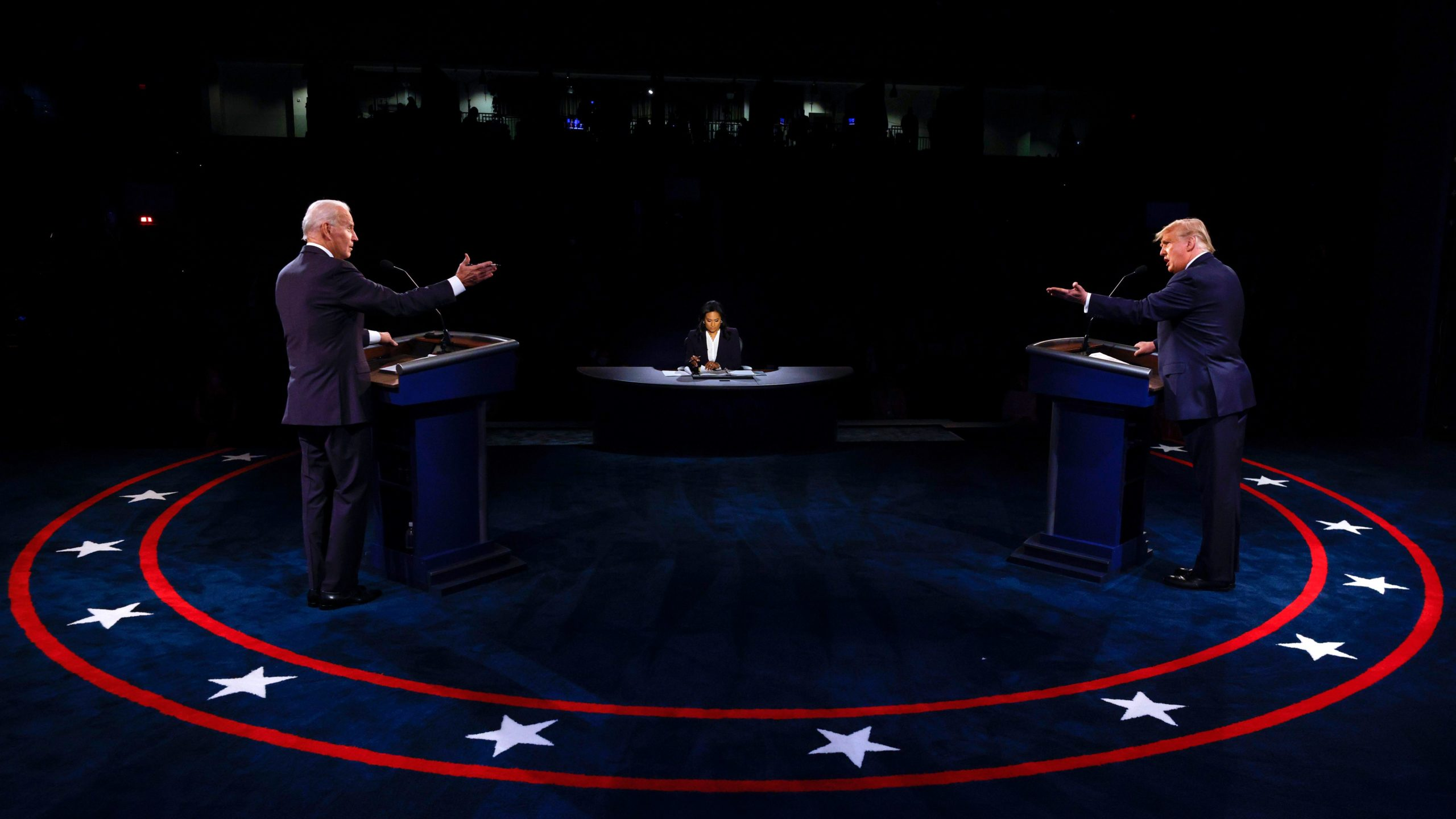 President Donald Trump and Democratic presidential nominee Joe Biden participate in the final presidential debate on Thursday. (Jim Bourg/Pool/AFP via Getty Images)