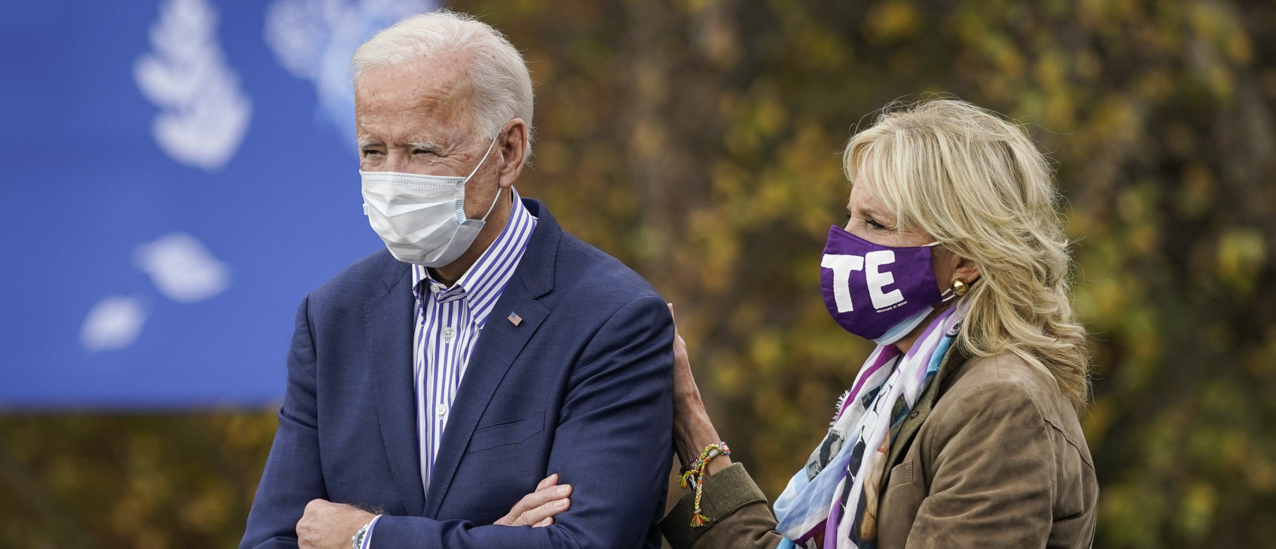 BRISTOL, PA - OCTOBER 24: Democratic presidential nominee Joe Biden stands with his wife Dr. Jill Biden before speaking at a drive-in campaign rally at Bucks County Community College on October 24, 2020 in Bristol, Pennsylvania. Biden is making two campaign stops in the battleground state of Pennsylvania on Saturday. (Photo by Drew Angerer/Getty Images)